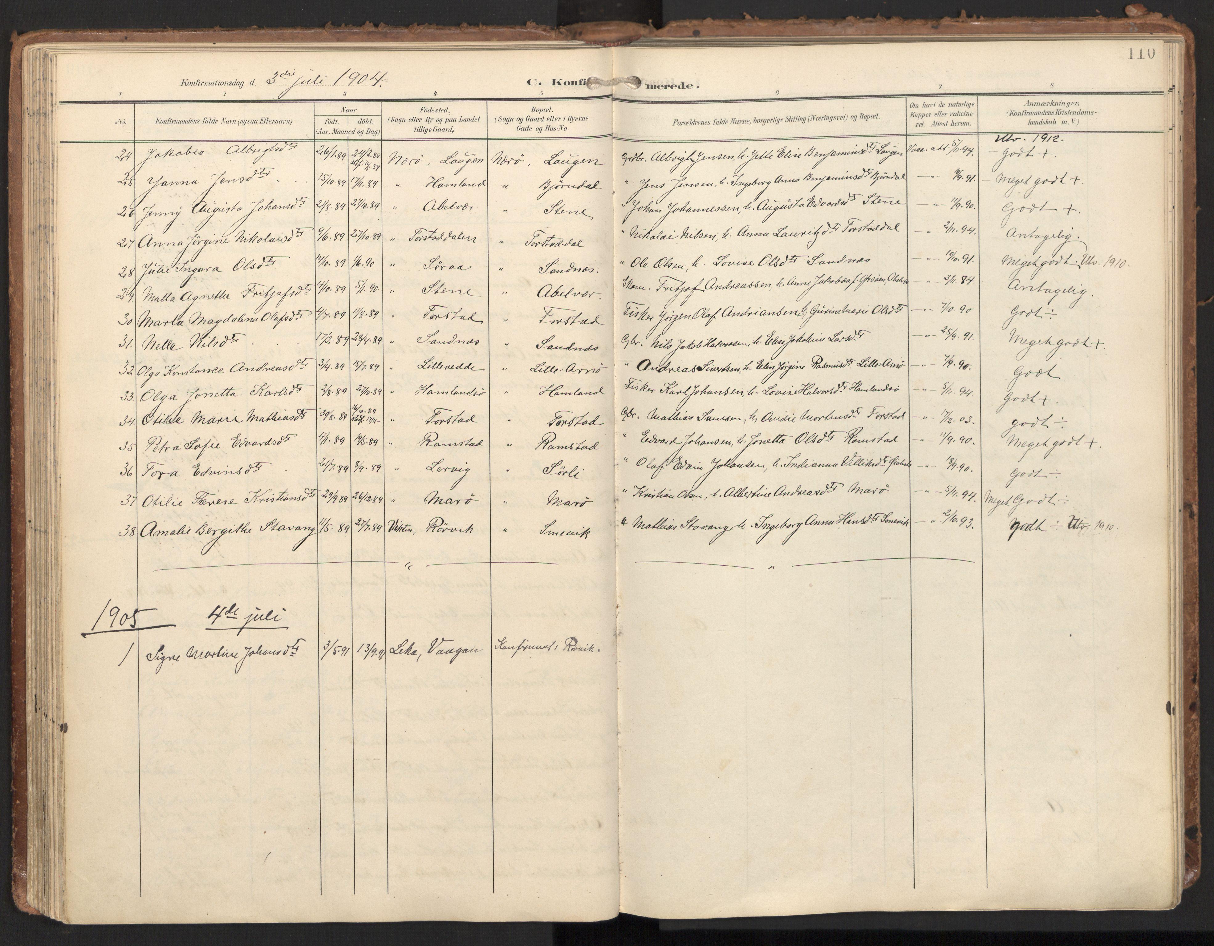 SAT, Ministerialprotokoller, klokkerbøker og fødselsregistre - Nord-Trøndelag, 784/L0677: Ministerialbok nr. 784A12, 1900-1920, s. 110