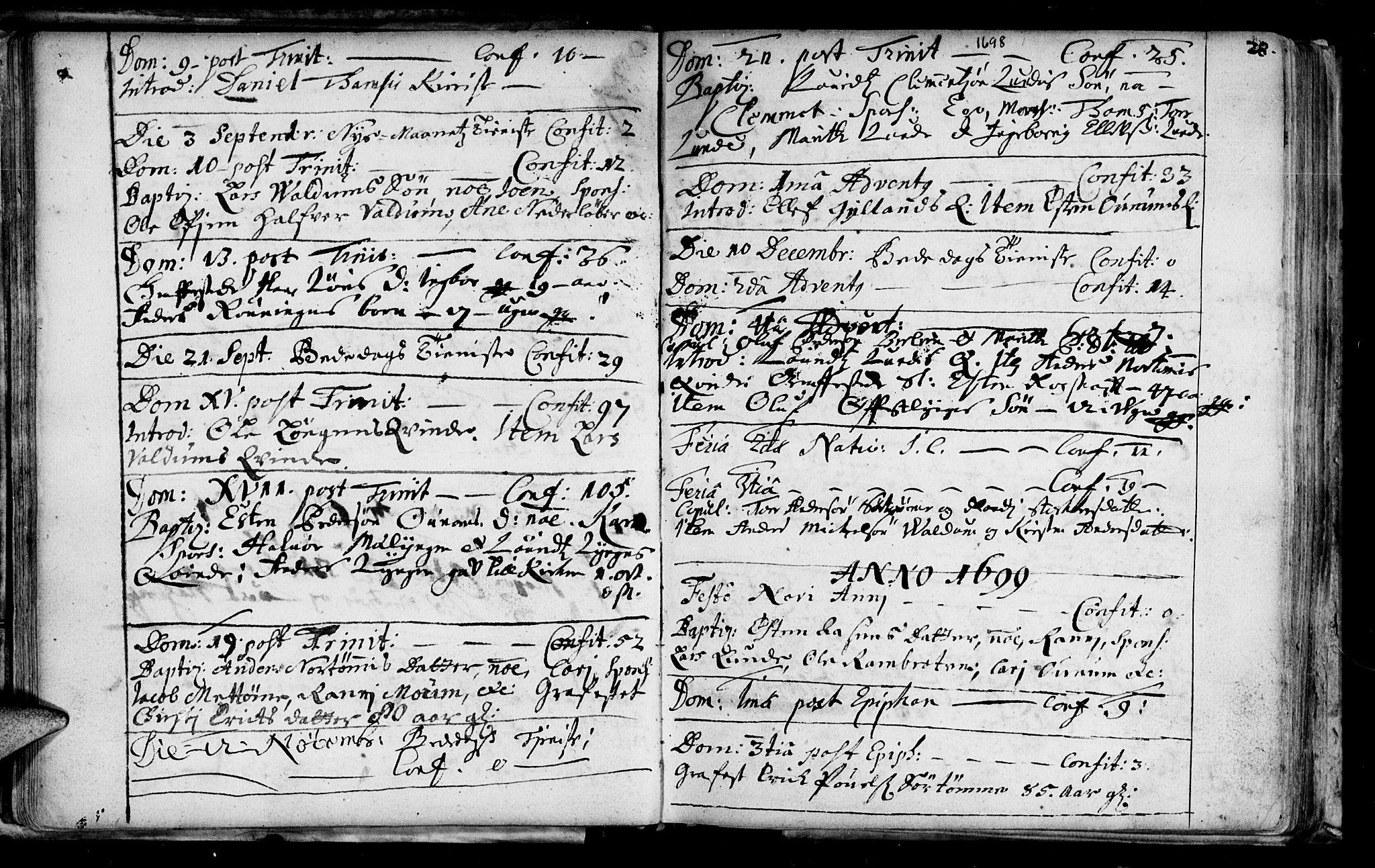 SAT, Ministerialprotokoller, klokkerbøker og fødselsregistre - Sør-Trøndelag, 692/L1101: Ministerialbok nr. 692A01, 1690-1746, s. 28