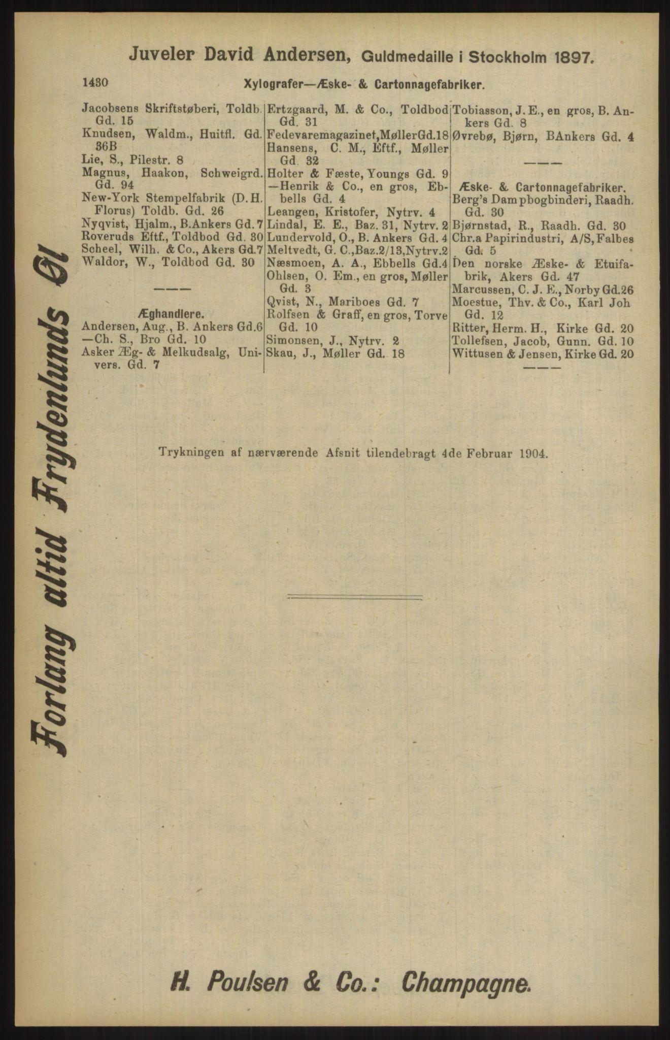 RA, Kristiania adressebok (publikasjon)*, 1904, s. 1430