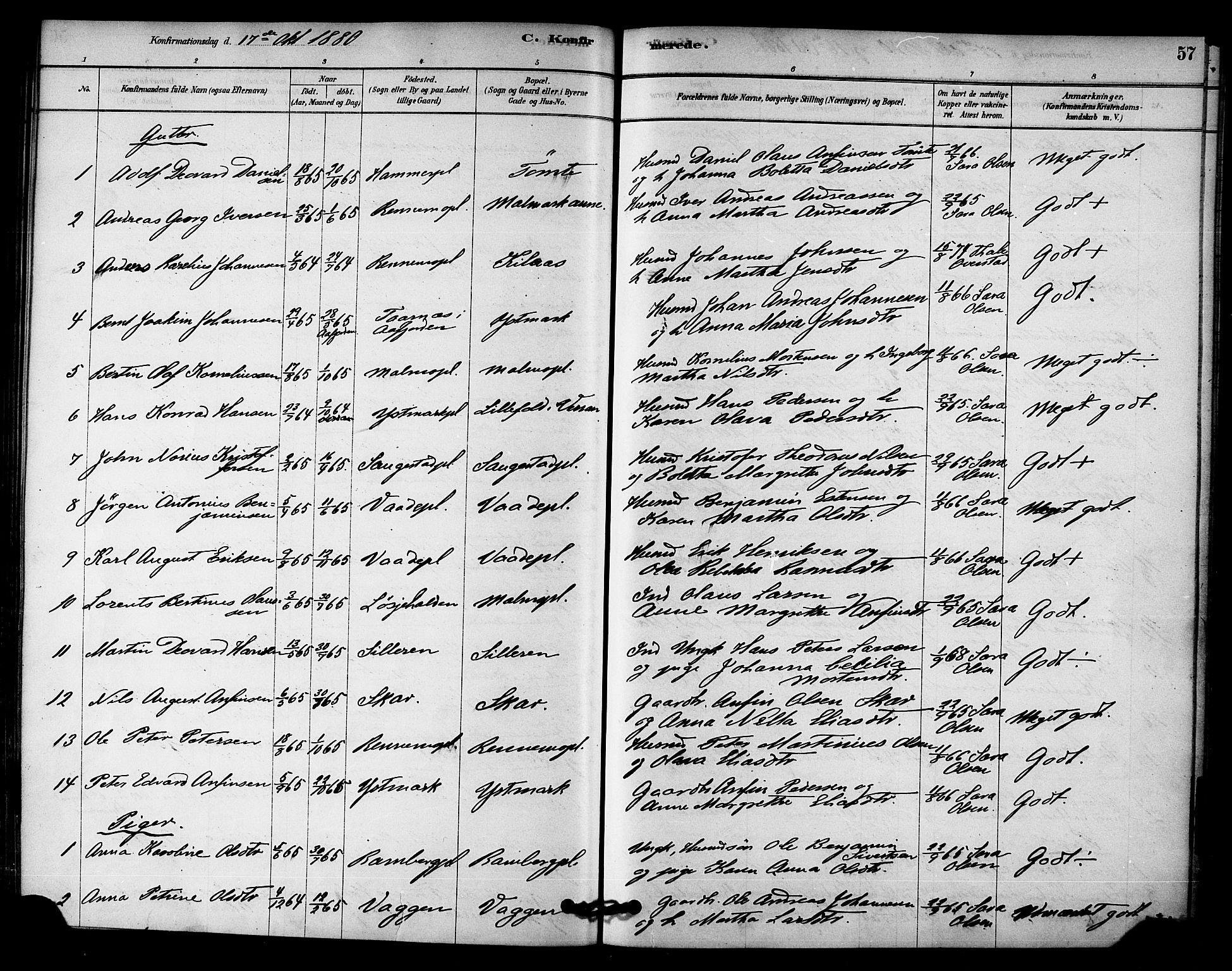 SAT, Ministerialprotokoller, klokkerbøker og fødselsregistre - Nord-Trøndelag, 745/L0429: Ministerialbok nr. 745A01, 1878-1894, s. 57