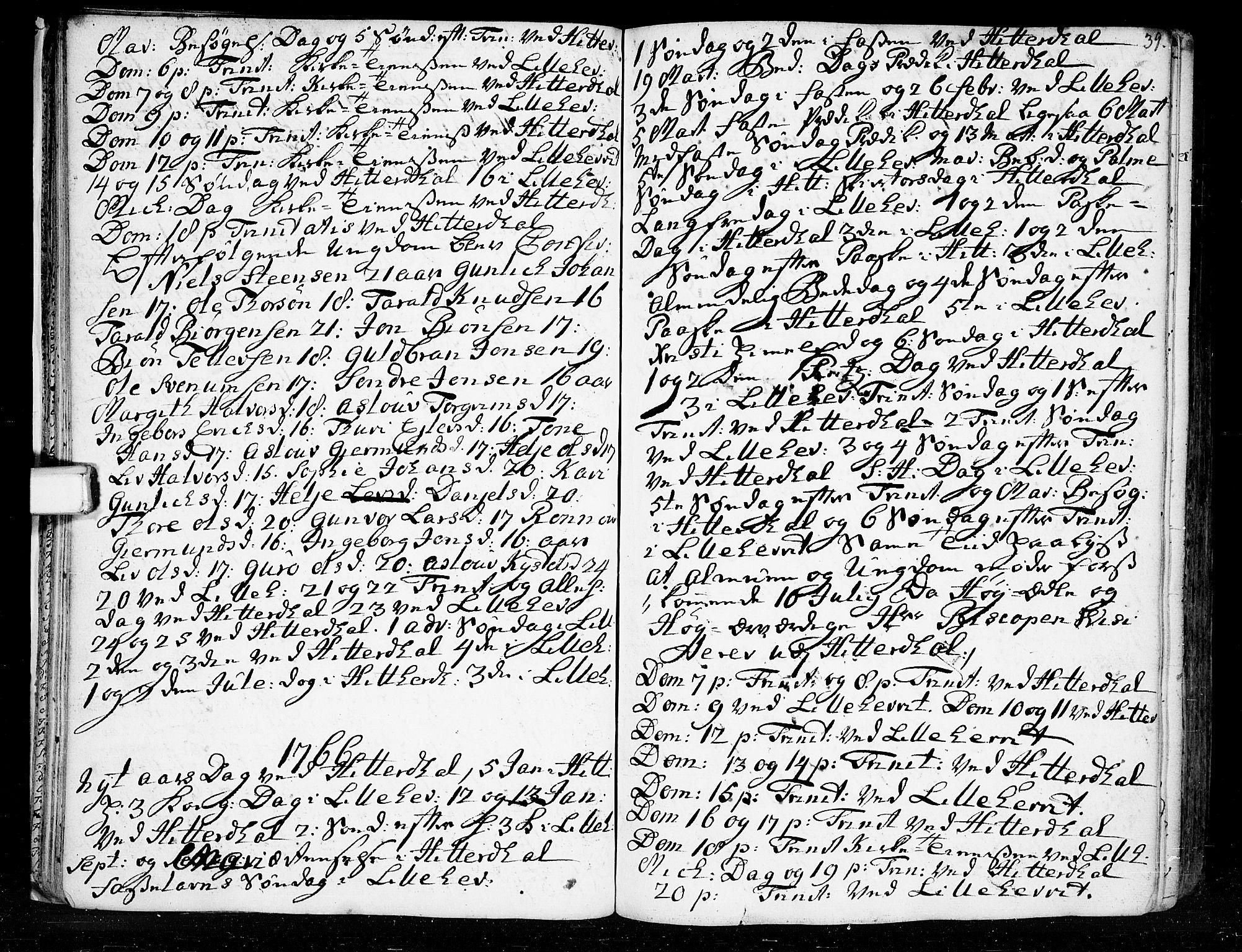 SAKO, Heddal kirkebøker, F/Fa/L0003: Ministerialbok nr. I 3, 1723-1783, s. 39