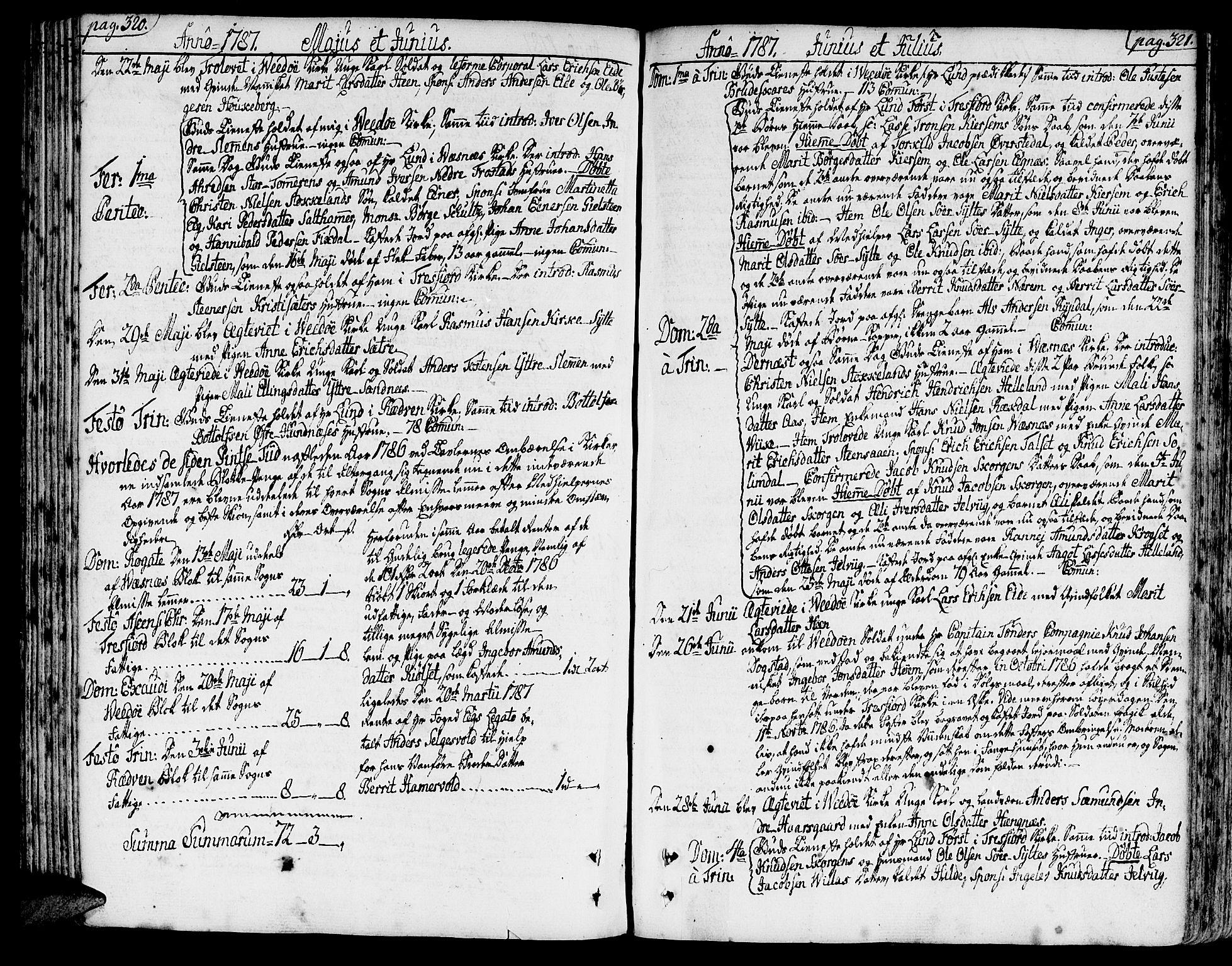 SAT, Ministerialprotokoller, klokkerbøker og fødselsregistre - Møre og Romsdal, 547/L0600: Ministerialbok nr. 547A02, 1765-1799, s. 320-321