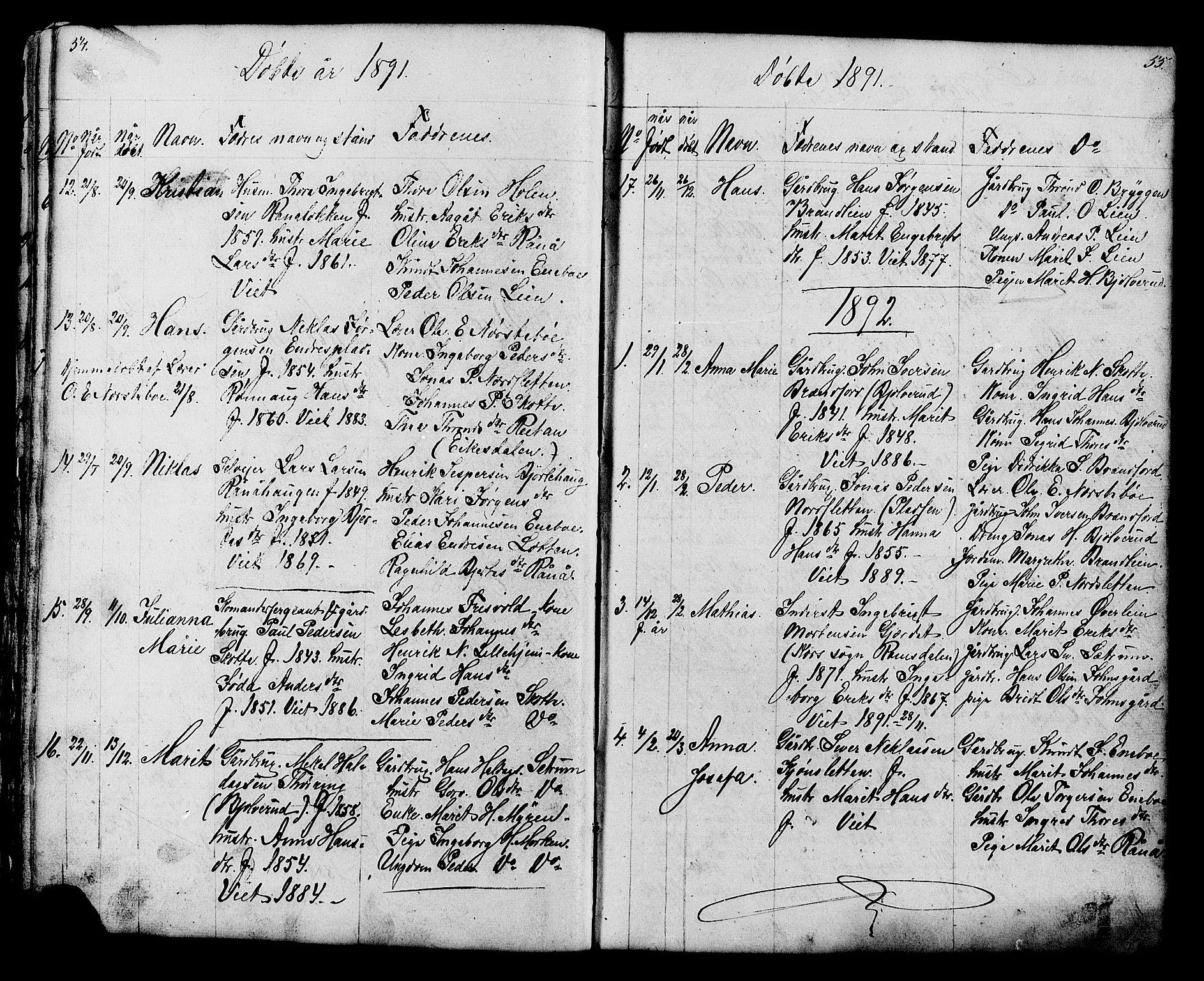 SAH, Lesja prestekontor, Klokkerbok nr. 6, 1871-1904, s. 54-55