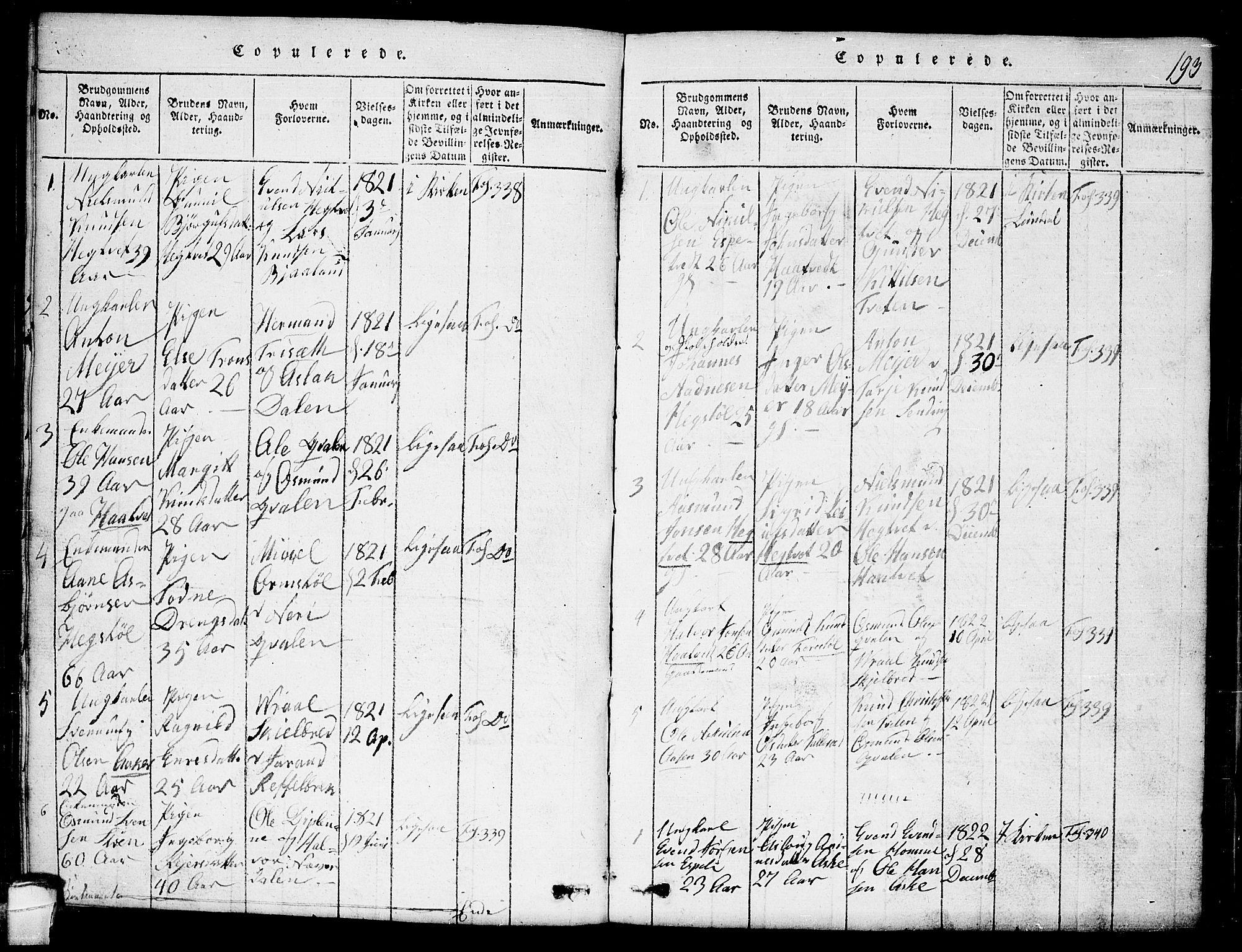 SAKO, Lårdal kirkebøker, G/Ga/L0001: Klokkerbok nr. I 1, 1815-1861, s. 193
