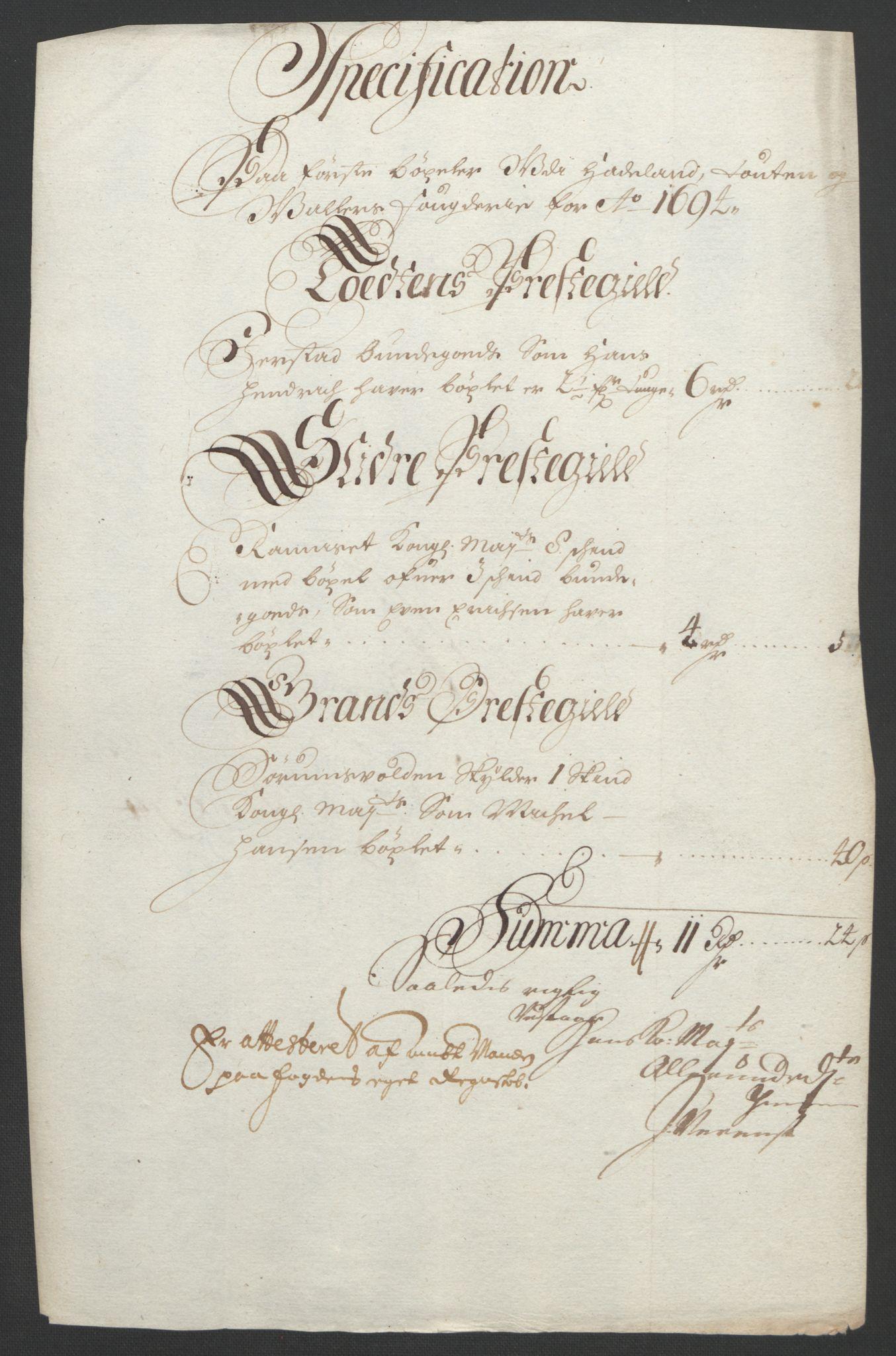 RA, Rentekammeret inntil 1814, Reviderte regnskaper, Fogderegnskap, R18/L1292: Fogderegnskap Hadeland, Toten og Valdres, 1693-1694, s. 253