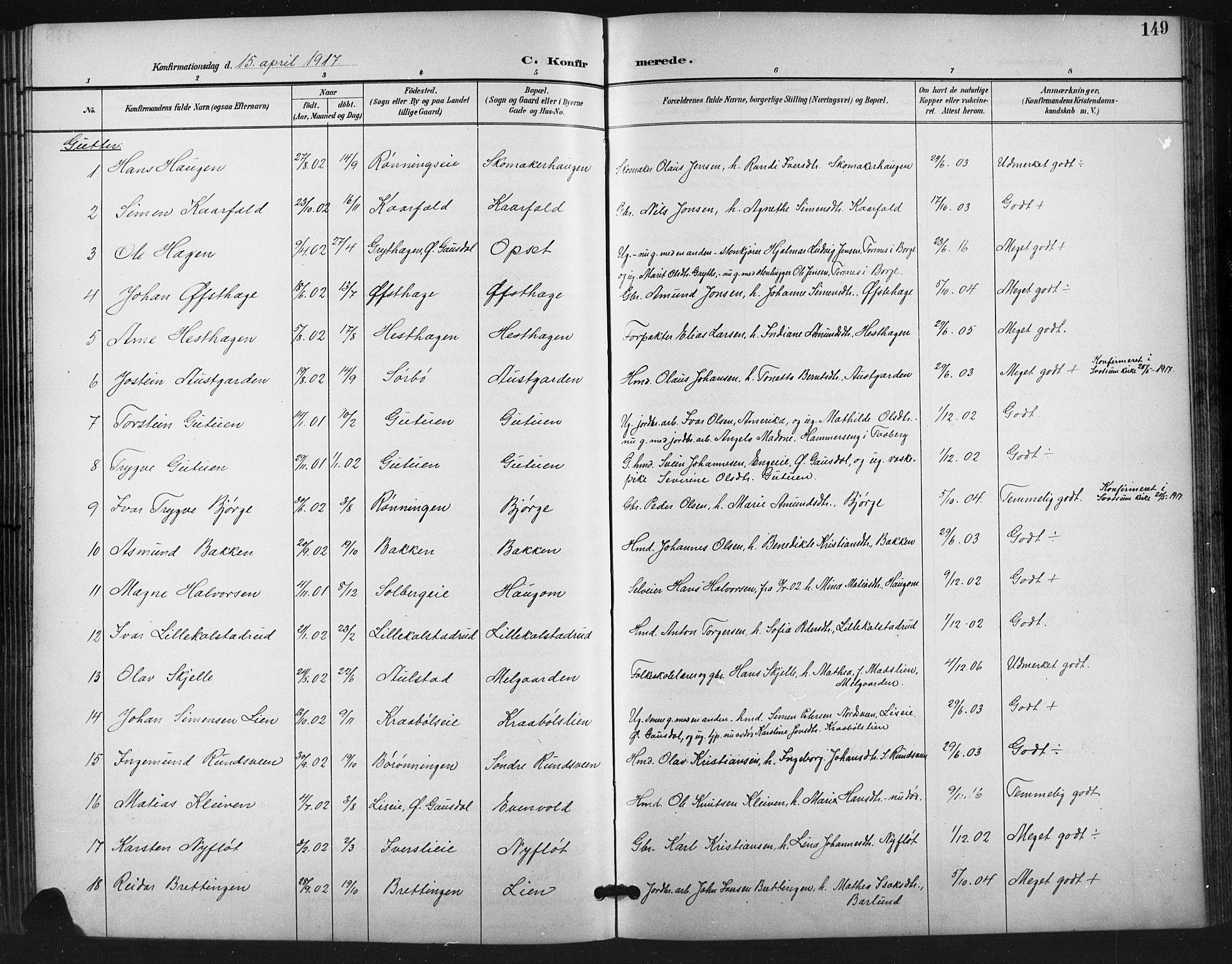SAH, Vestre Gausdal prestekontor, Klokkerbok nr. 3, 1896-1925, s. 149