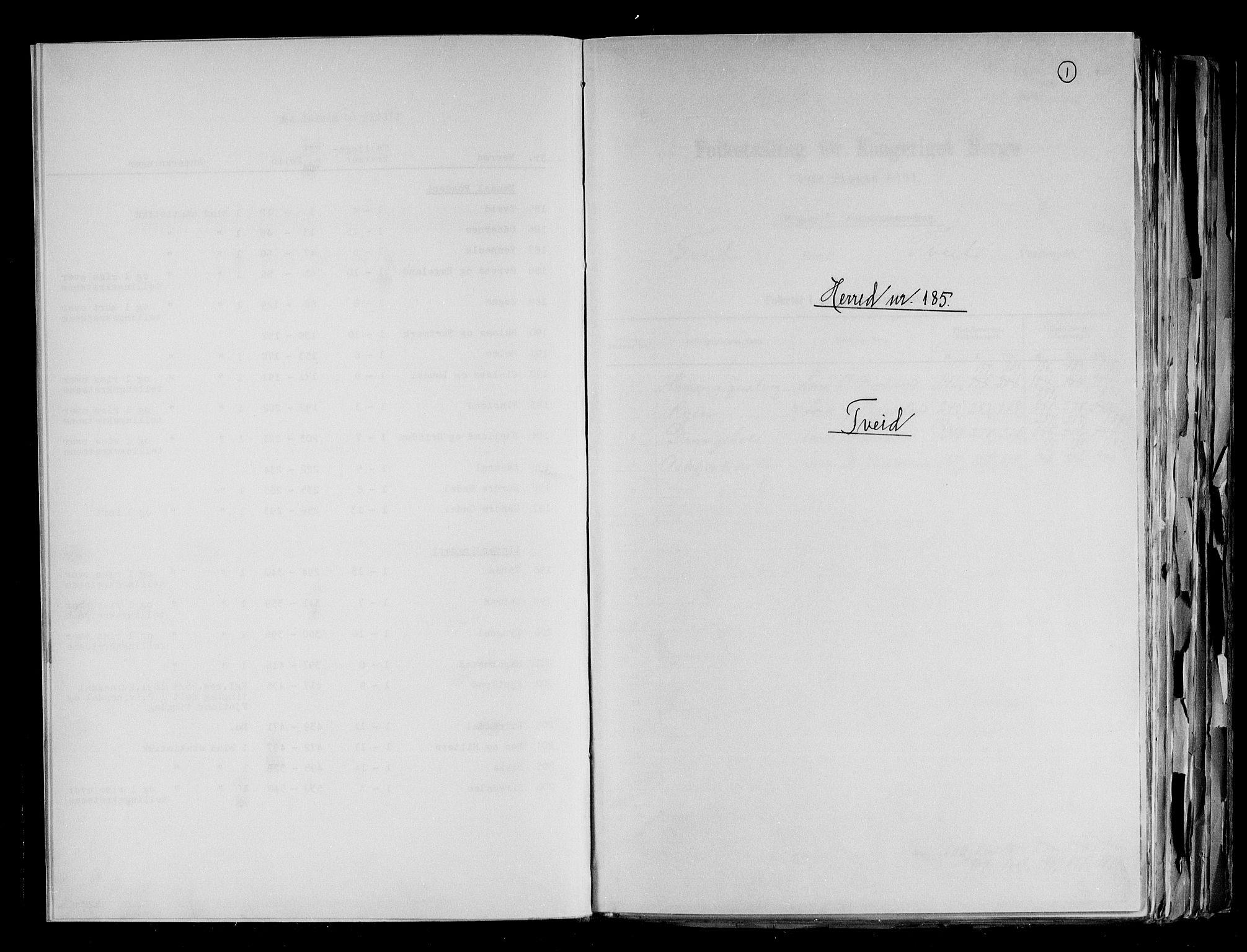 RA, Folketelling 1891 for 1013 Tveit herred, 1891, s. 1