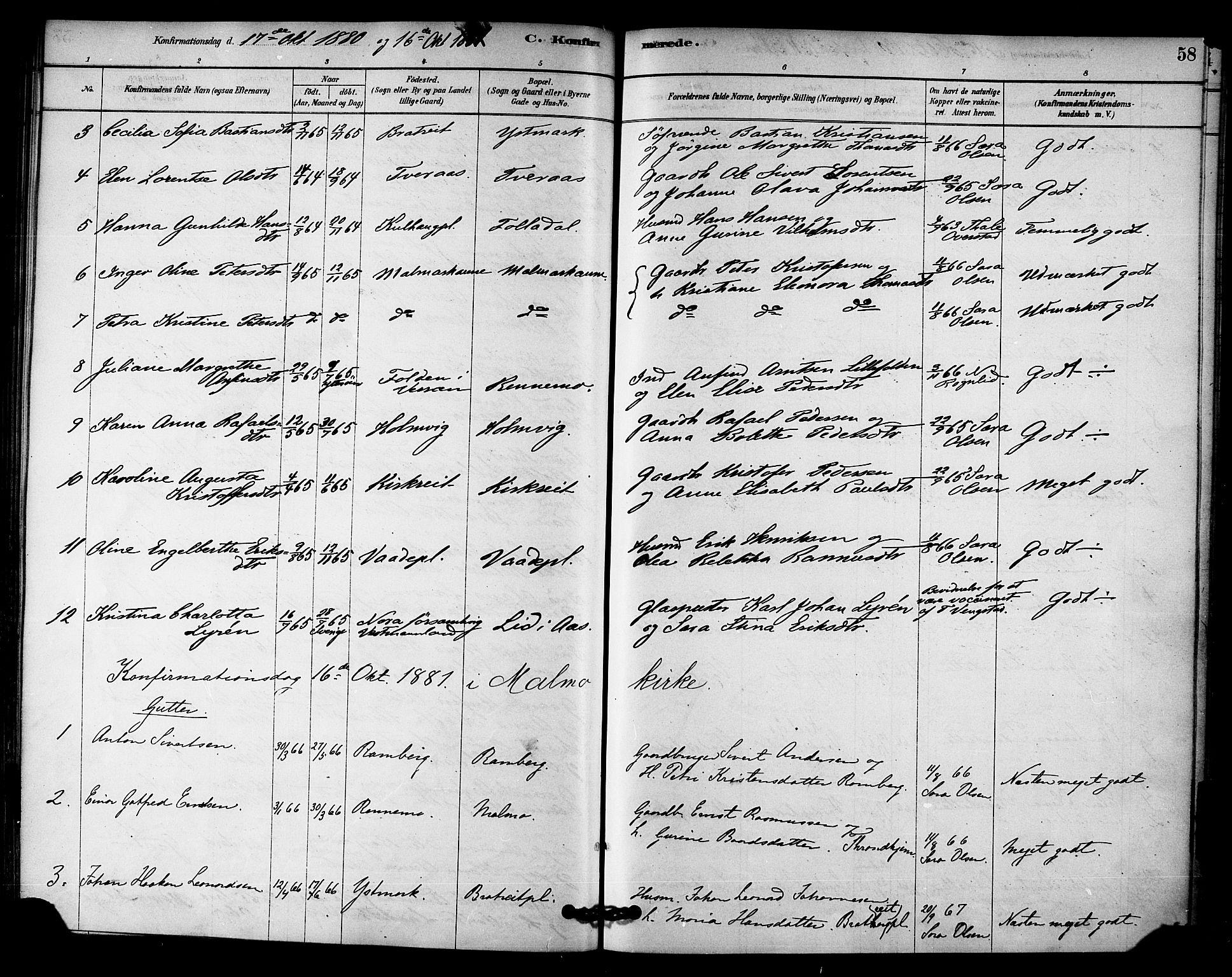 SAT, Ministerialprotokoller, klokkerbøker og fødselsregistre - Nord-Trøndelag, 745/L0429: Ministerialbok nr. 745A01, 1878-1894, s. 58