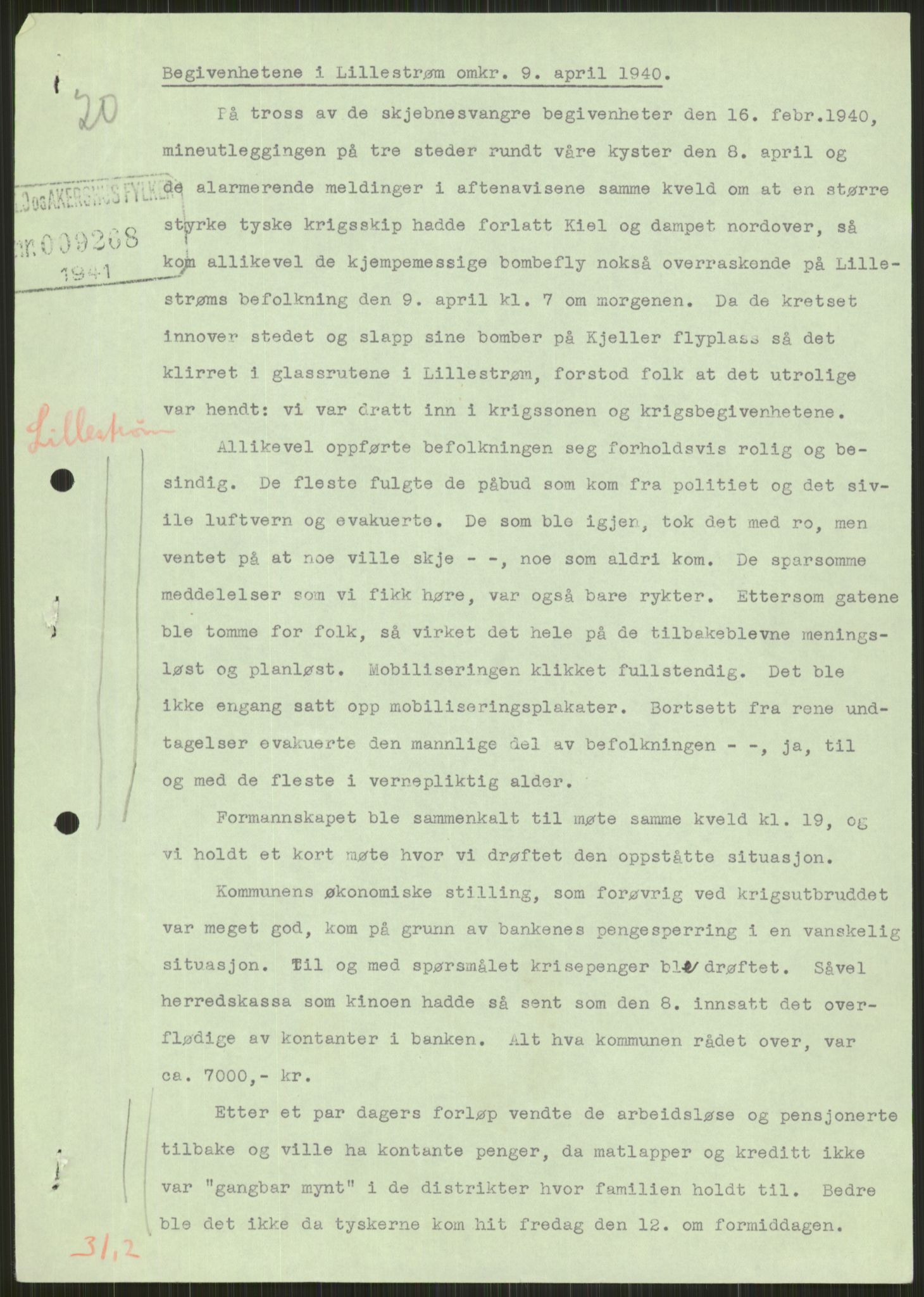 RA, Forsvaret, Forsvarets krigshistoriske avdeling, Y/Ya/L0013: II-C-11-31 - Fylkesmenn.  Rapporter om krigsbegivenhetene 1940., 1940, s. 761