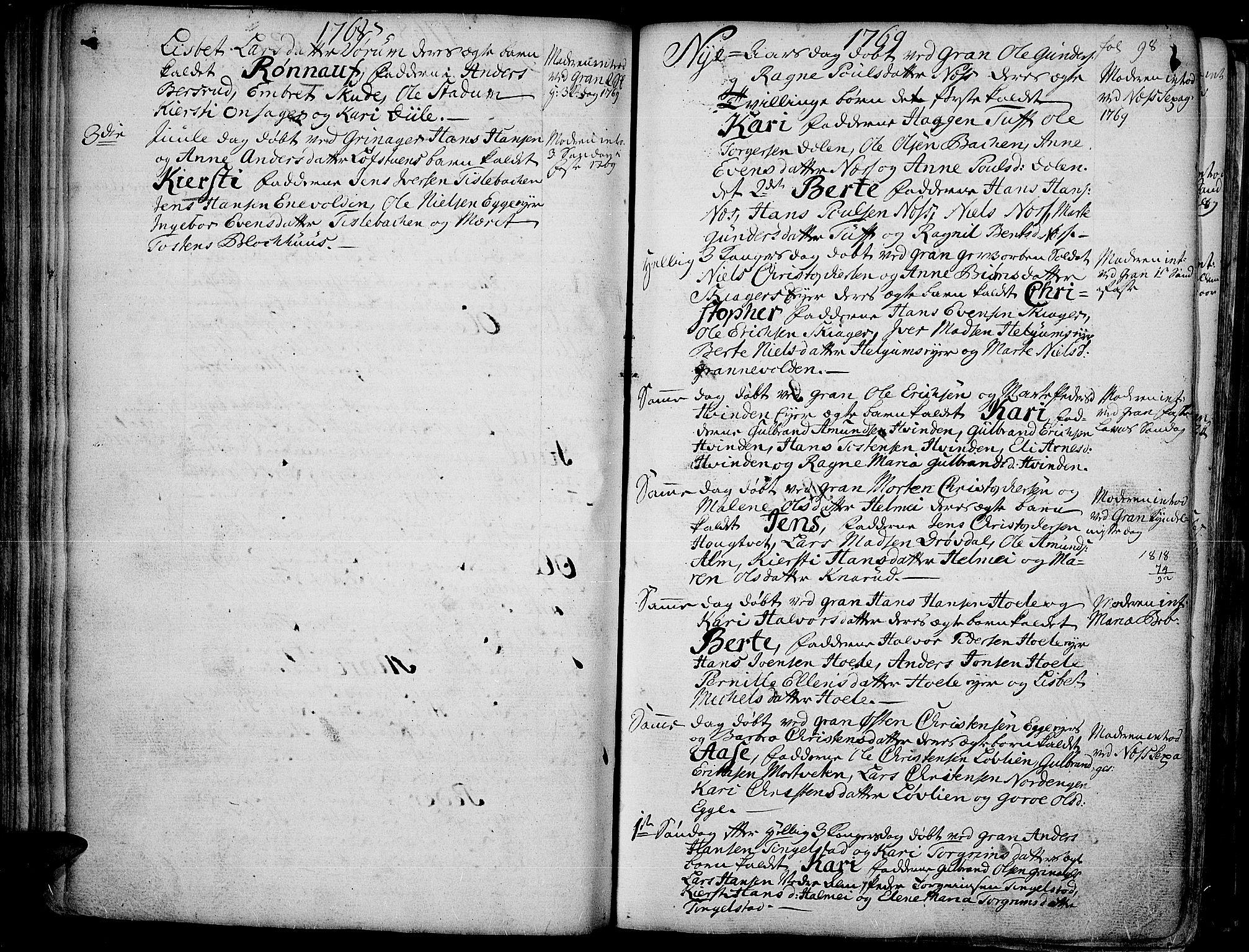 SAH, Gran prestekontor, Ministerialbok nr. 4, 1759-1775, s. 98