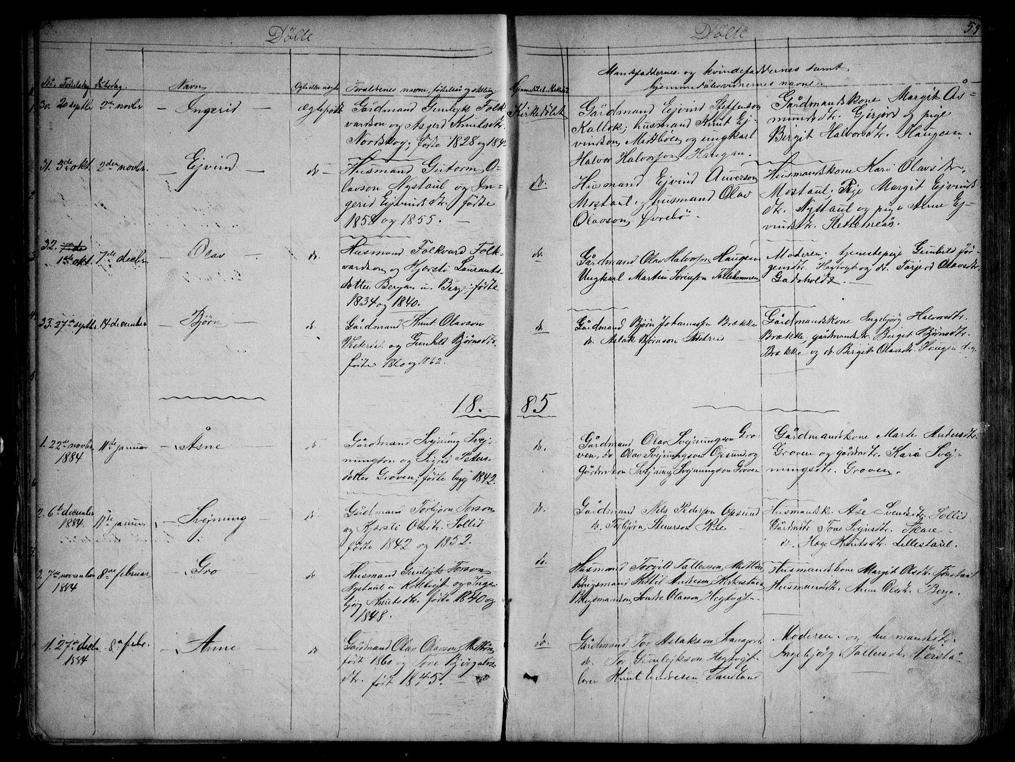 SAKO, Kviteseid kirkebøker, G/Gb/L0002: Klokkerbok nr. II 2, 1850-1892, s. 55