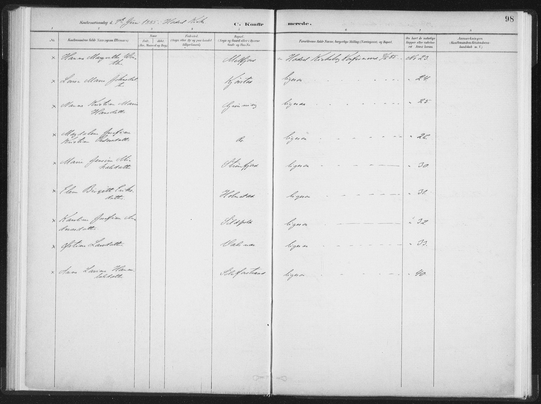 SAT, Ministerialprotokoller, klokkerbøker og fødselsregistre - Nordland, 890/L1286: Ministerialbok nr. 890A01, 1882-1902, s. 98