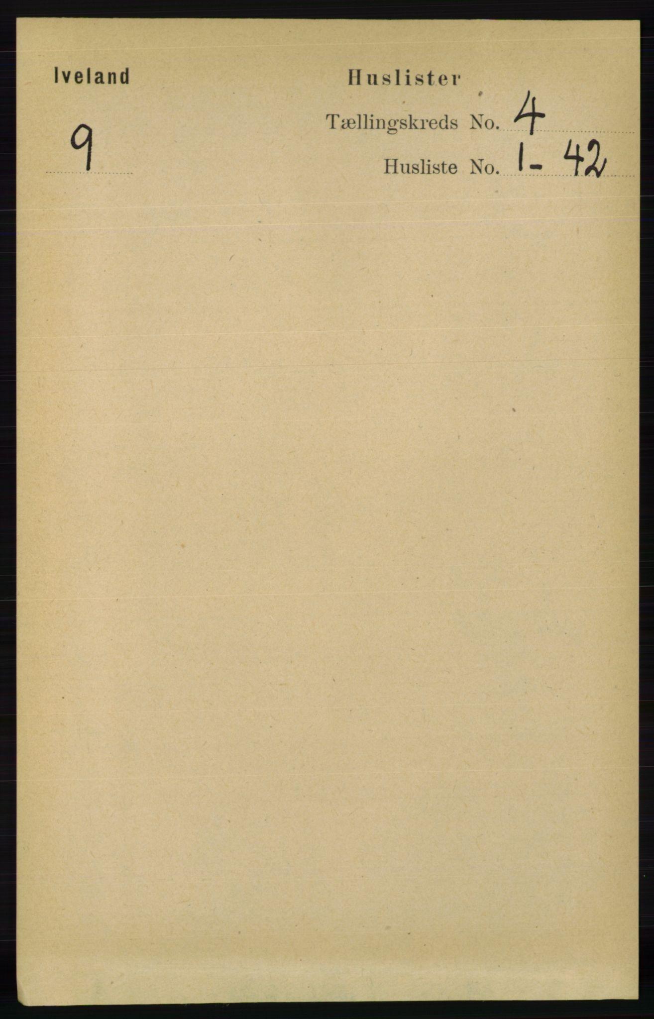 RA, Folketelling 1891 for 0935 Iveland herred, 1891, s. 978