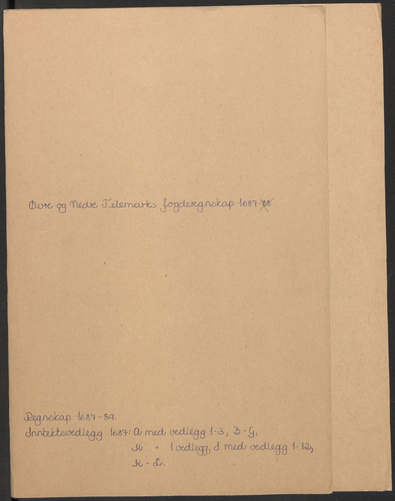 RA, Rentekammeret inntil 1814, Reviderte regnskaper, Fogderegnskap, R35/L2086: Fogderegnskap Øvre og Nedre Telemark, 1687-1689, s. 2
