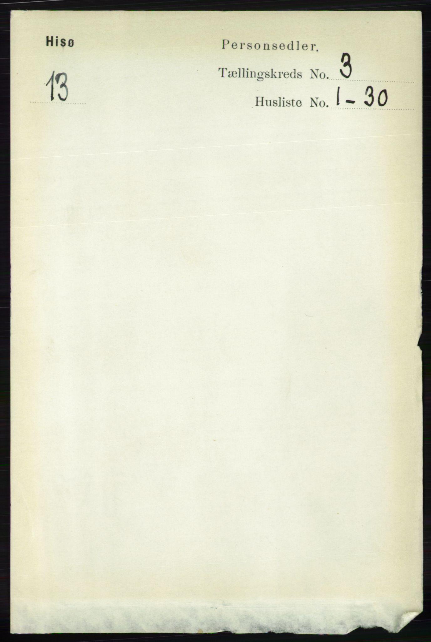 RA, Folketelling 1891 for 0922 Hisøy herred, 1891, s. 2251