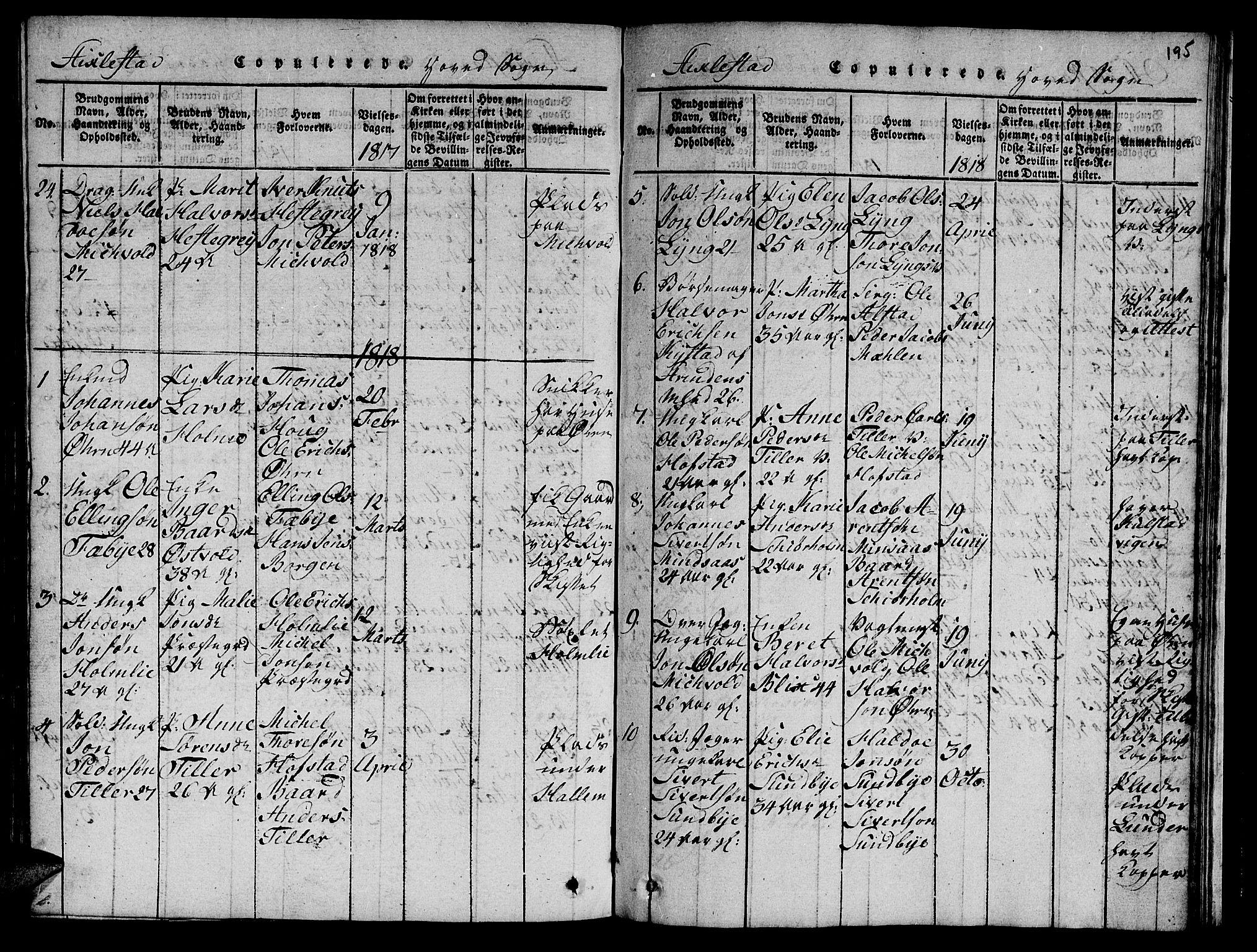 SAT, Ministerialprotokoller, klokkerbøker og fødselsregistre - Nord-Trøndelag, 723/L0251: Klokkerbok nr. 723C01 /1, 1816-1831, s. 195