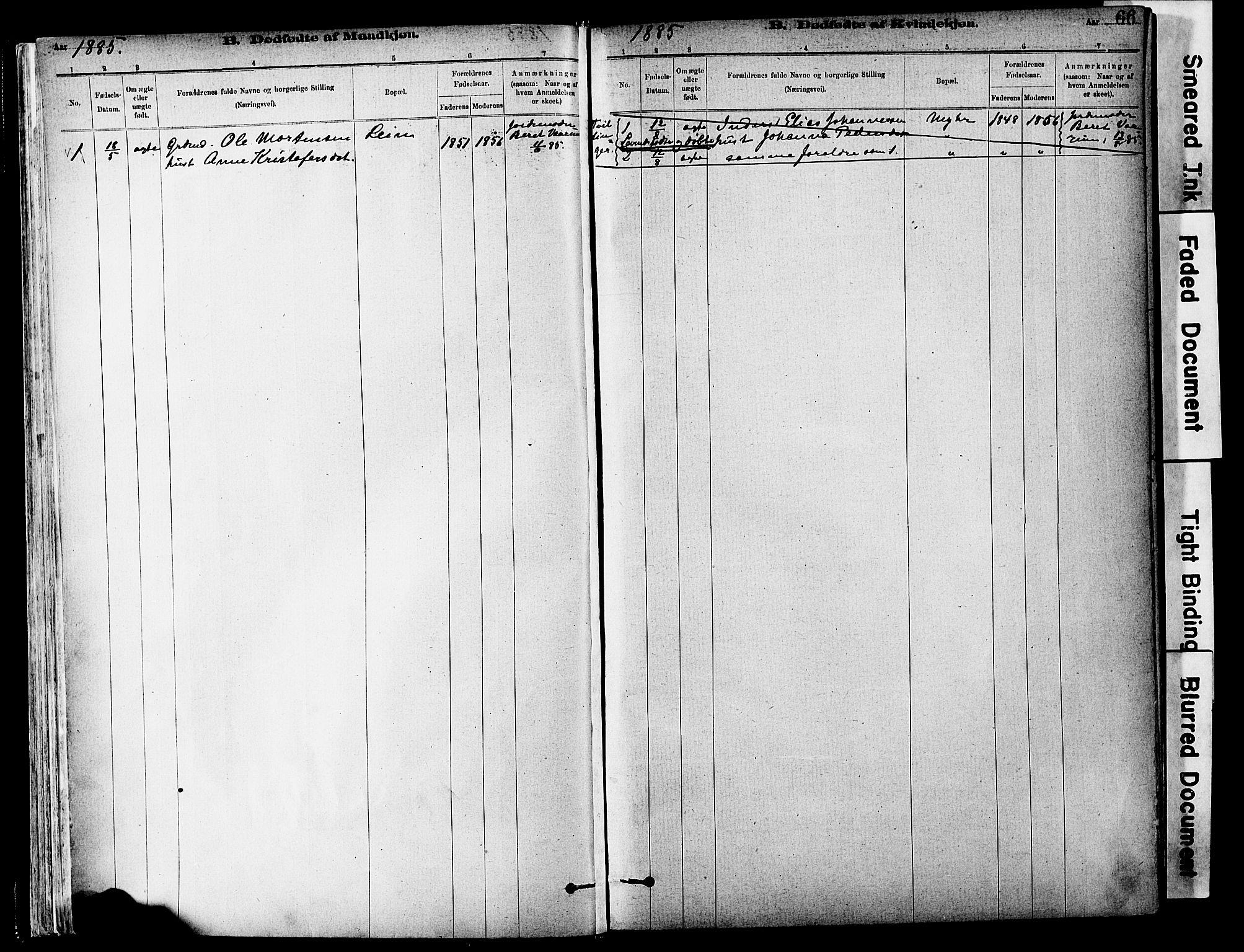 SAT, Ministerialprotokoller, klokkerbøker og fødselsregistre - Sør-Trøndelag, 646/L0615: Ministerialbok nr. 646A13, 1885-1900, s. 66