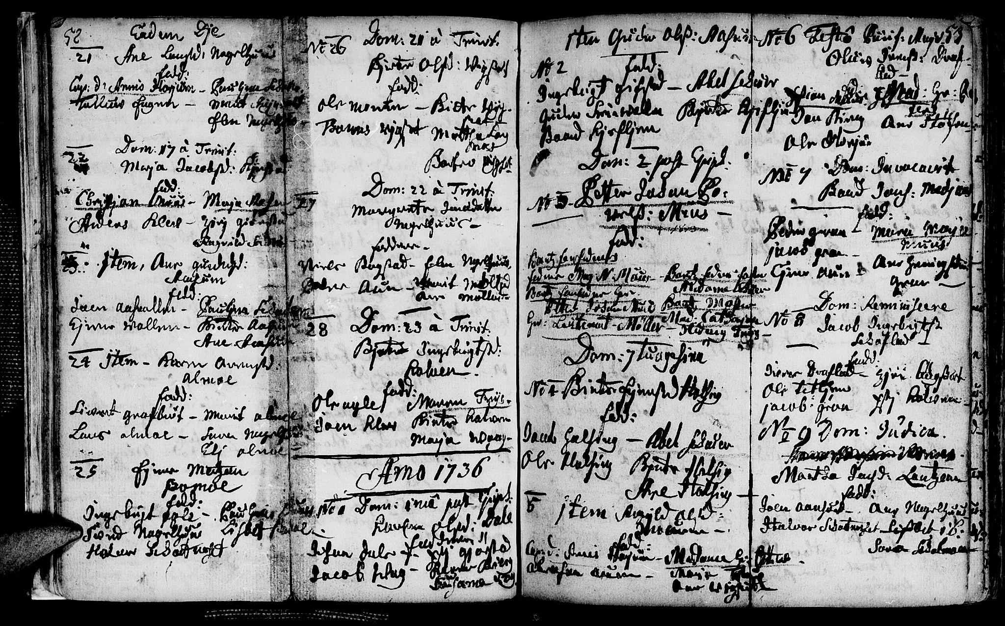 SAT, Ministerialprotokoller, klokkerbøker og fødselsregistre - Nord-Trøndelag, 749/L0467: Ministerialbok nr. 749A01, 1733-1787, s. 52-53