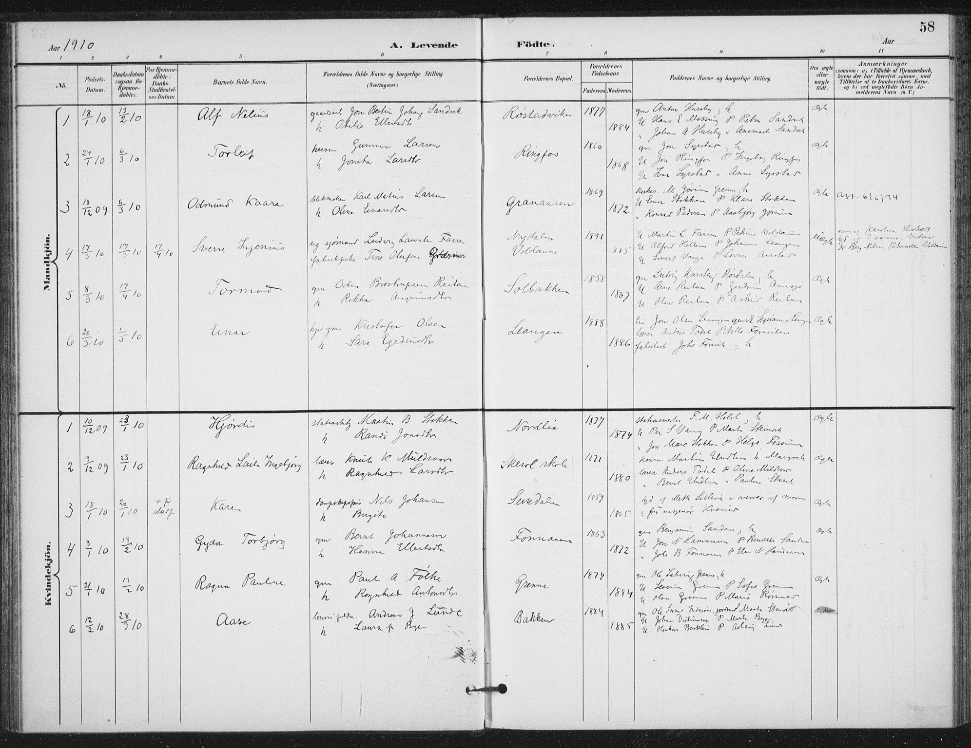 SAT, Ministerialprotokoller, klokkerbøker og fødselsregistre - Nord-Trøndelag, 714/L0131: Ministerialbok nr. 714A02, 1896-1918, s. 58