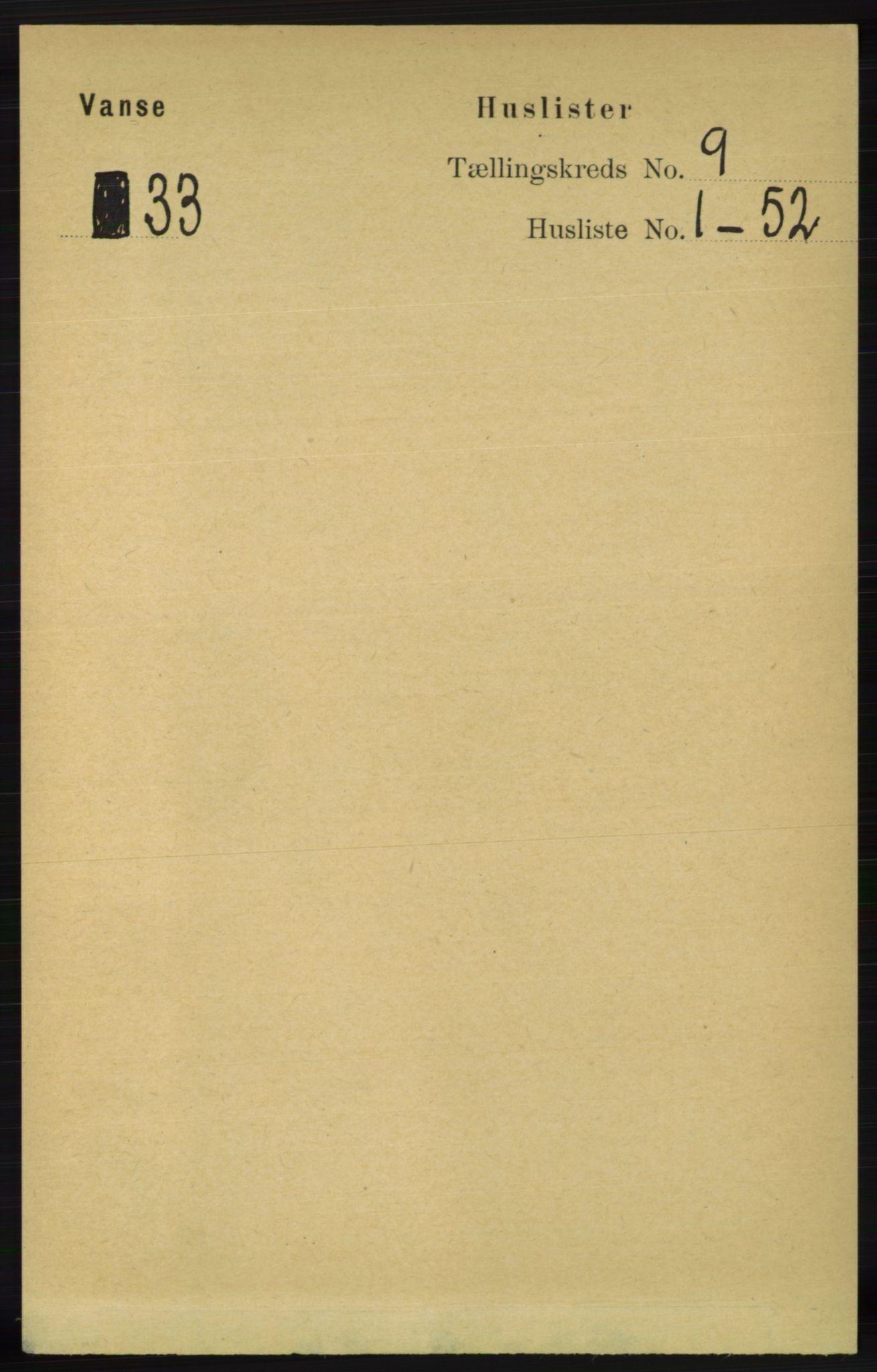 RA, Folketelling 1891 for 1041 Vanse herred, 1891, s. 5213