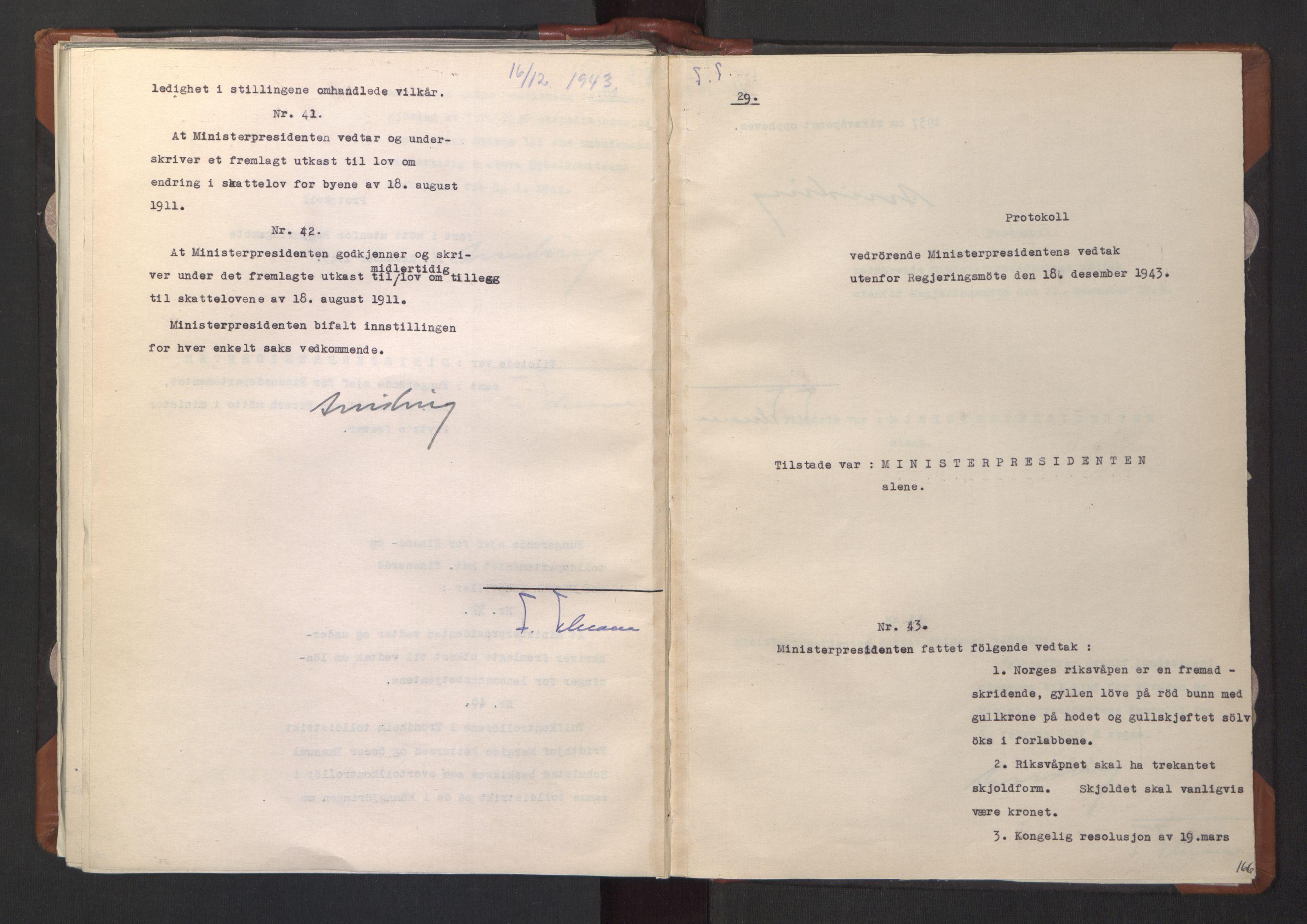 RA, NS-administrasjonen 1940-1945 (Statsrådsekretariatet, de kommisariske statsråder mm), D/Da/L0003: Vedtak (Beslutninger) nr. 1-746 og tillegg nr. 1-47 (RA. j.nr. 1394/1944, tilgangsnr. 8/1944, 1943, s. 165b-166a