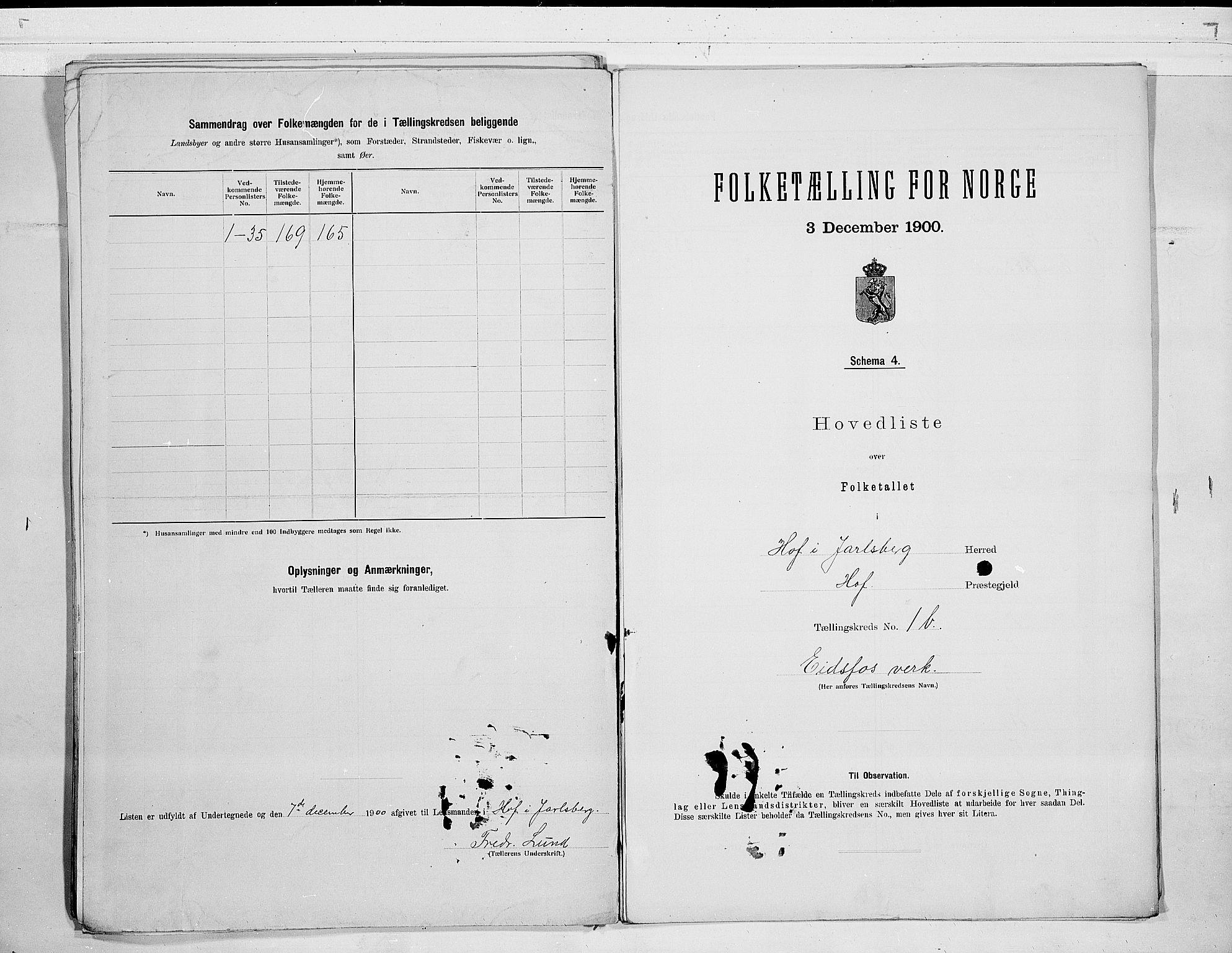 RA, Folketelling 1900 for 0714 Hof herred, 1900, s. 6