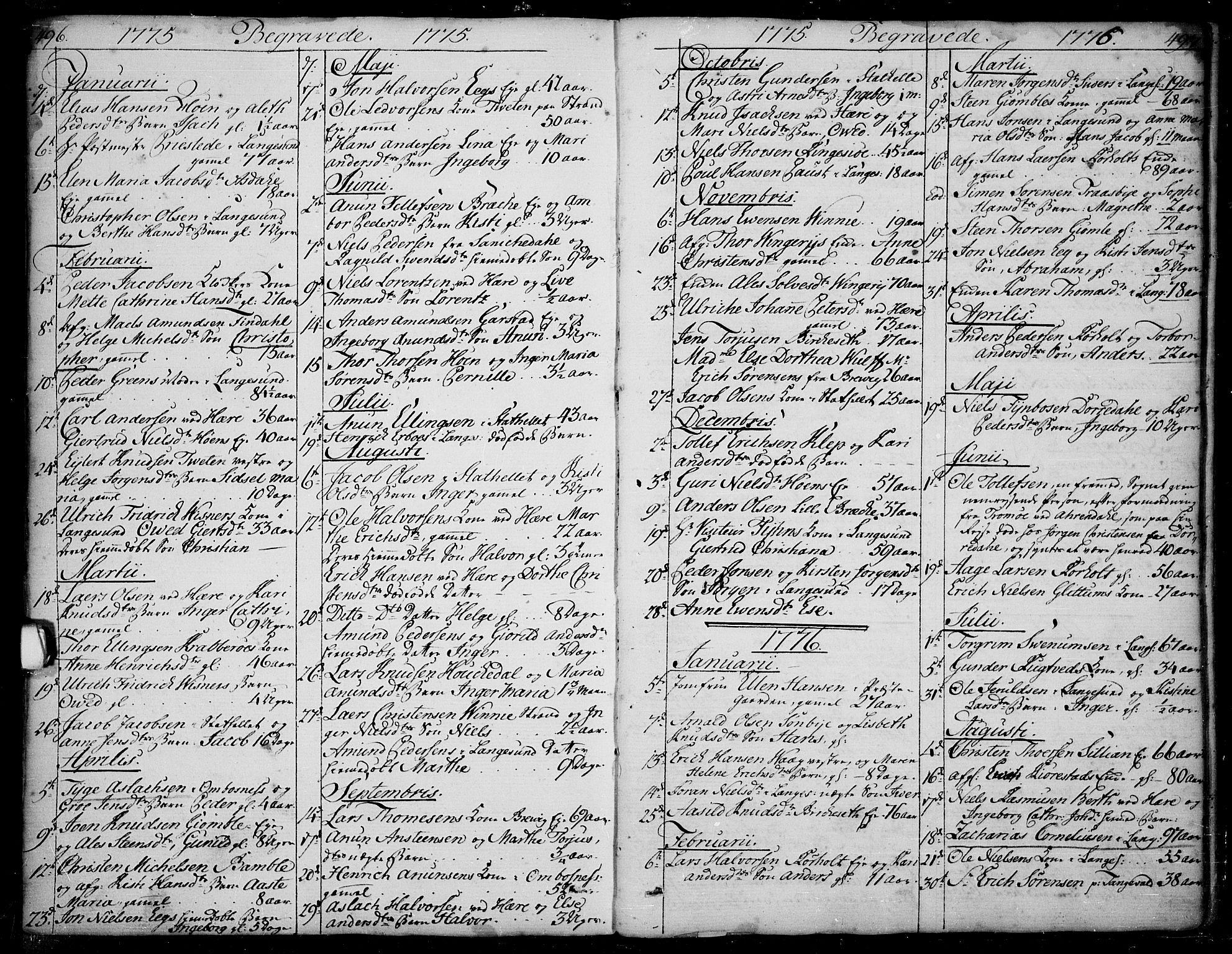 SAKO, Bamble kirkebøker, F/Fa/L0002: Ministerialbok nr. I 2, 1775-1814, s. 496-497