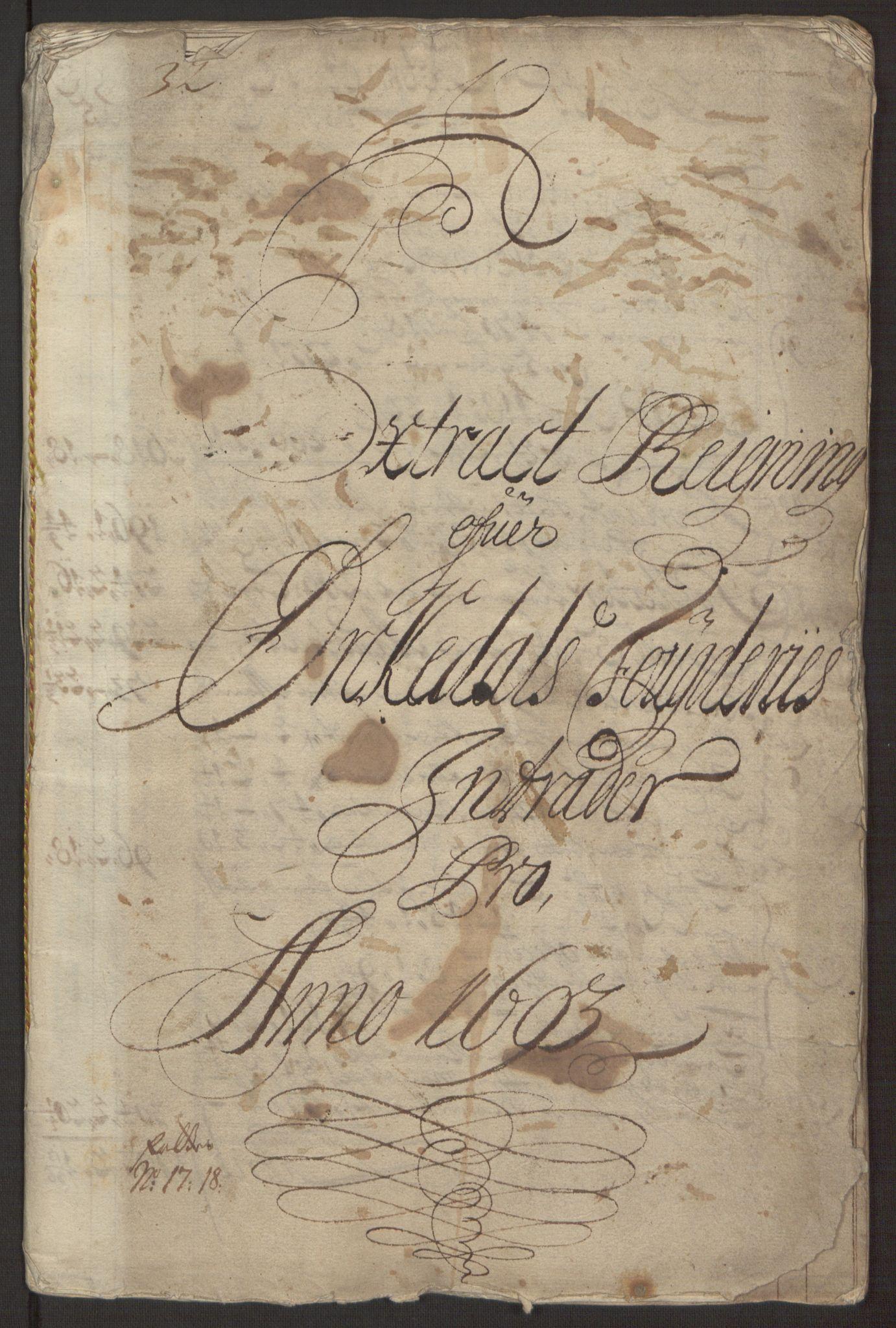 RA, Rentekammeret inntil 1814, Reviderte regnskaper, Fogderegnskap, R58/L3938: Fogderegnskap Orkdal, 1693, s. 4