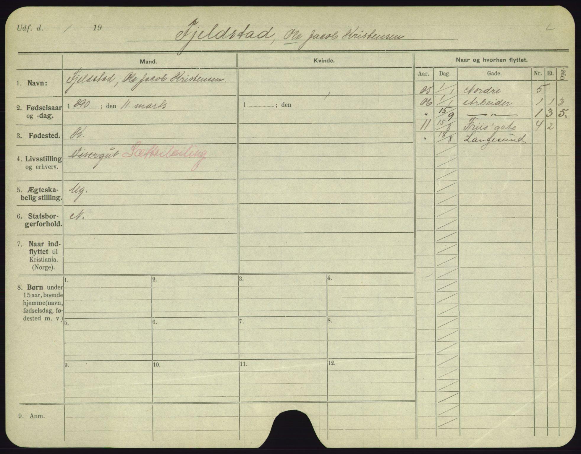 SAO, Oslo folkeregister, Registerkort, F/Fa/Fac/L0003: Menn, 1906-1914, s. 126a