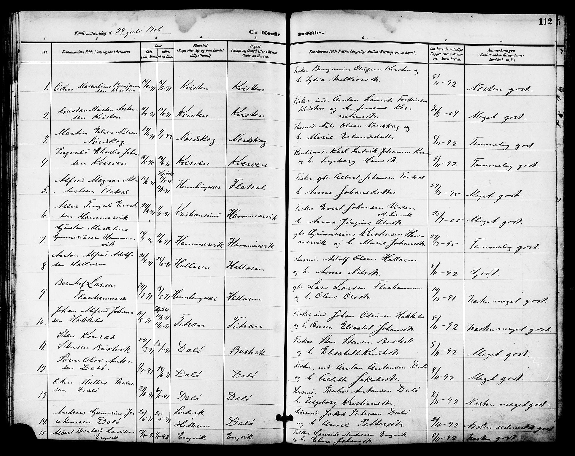SAT, Ministerialprotokoller, klokkerbøker og fødselsregistre - Sør-Trøndelag, 641/L0598: Klokkerbok nr. 641C02, 1893-1910, s. 112