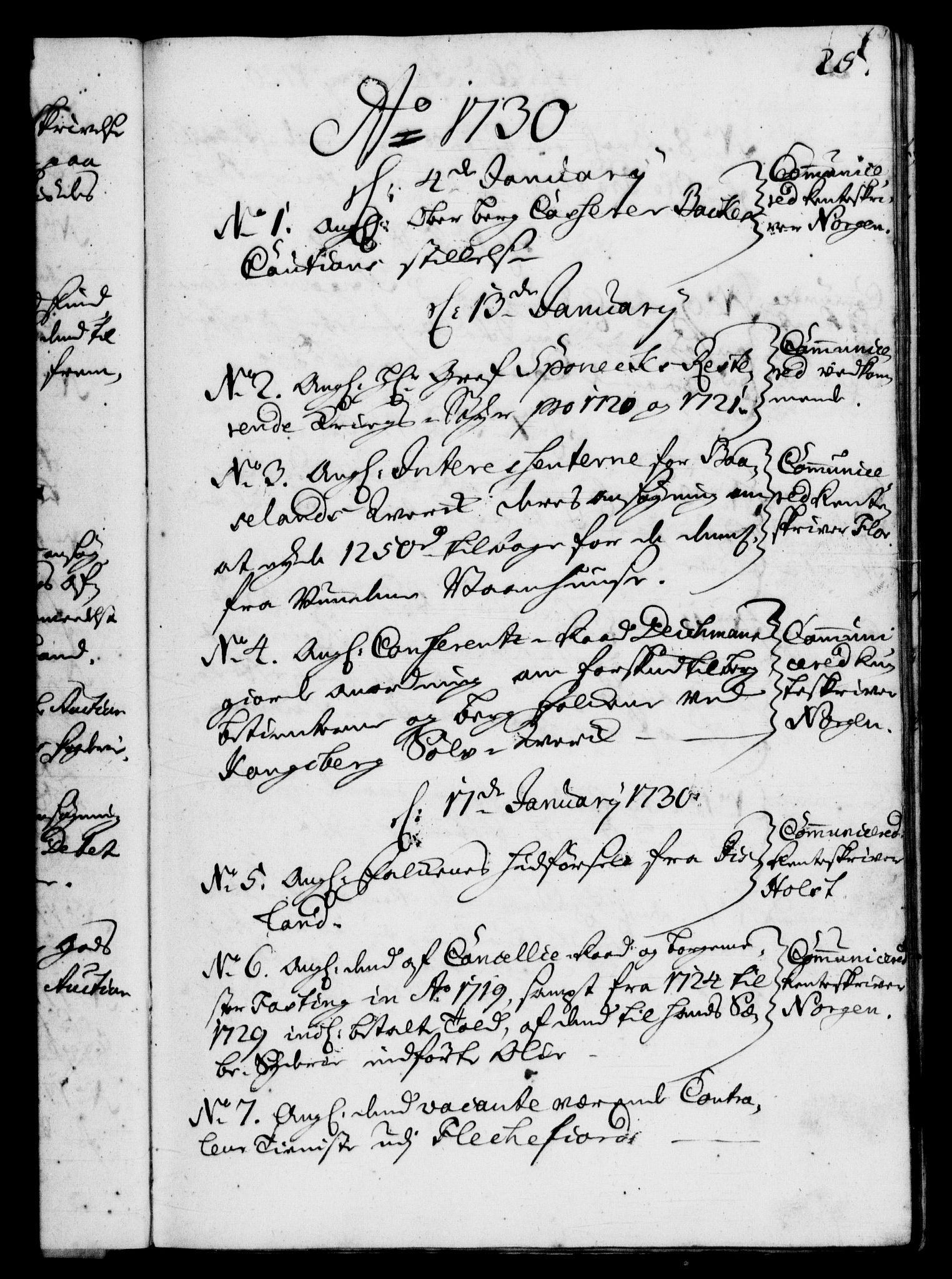 RA, Rentekammeret, Kammerkanselliet, G/Gf/Gfb/L0003: Register til norske relasjons- og resolusjonsprotokoller (merket RK 52.98), 1729-1736, s. 25