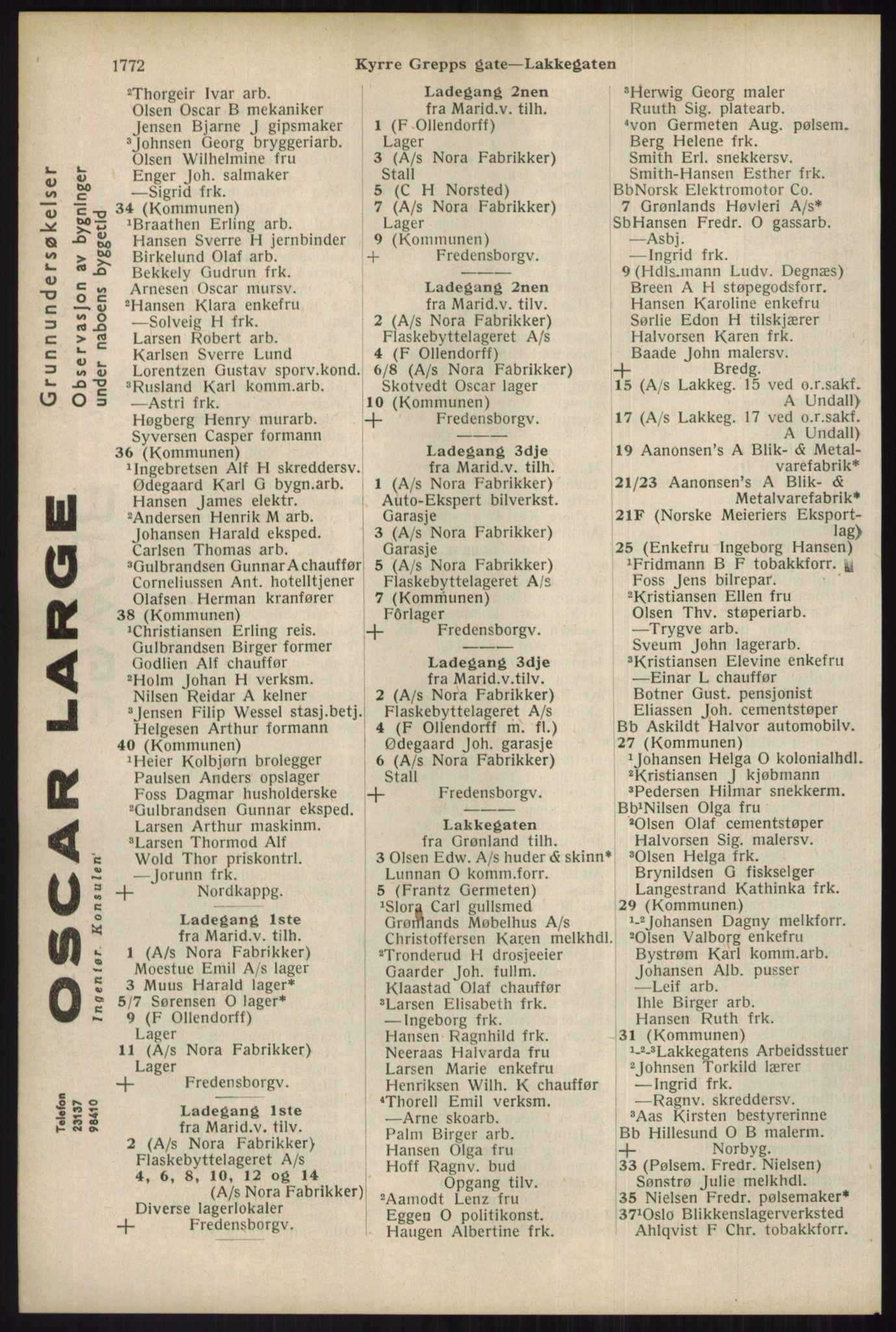 RA, Oslo adressebok (publikasjon)*, 1934, s. 1772
