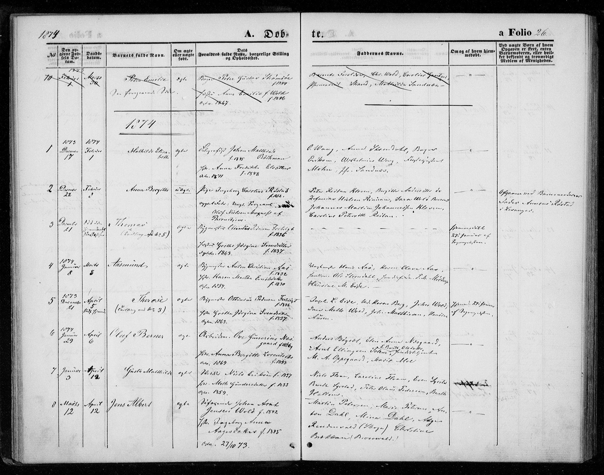 SAT, Ministerialprotokoller, klokkerbøker og fødselsregistre - Nord-Trøndelag, 720/L0186: Ministerialbok nr. 720A03, 1864-1874, s. 26