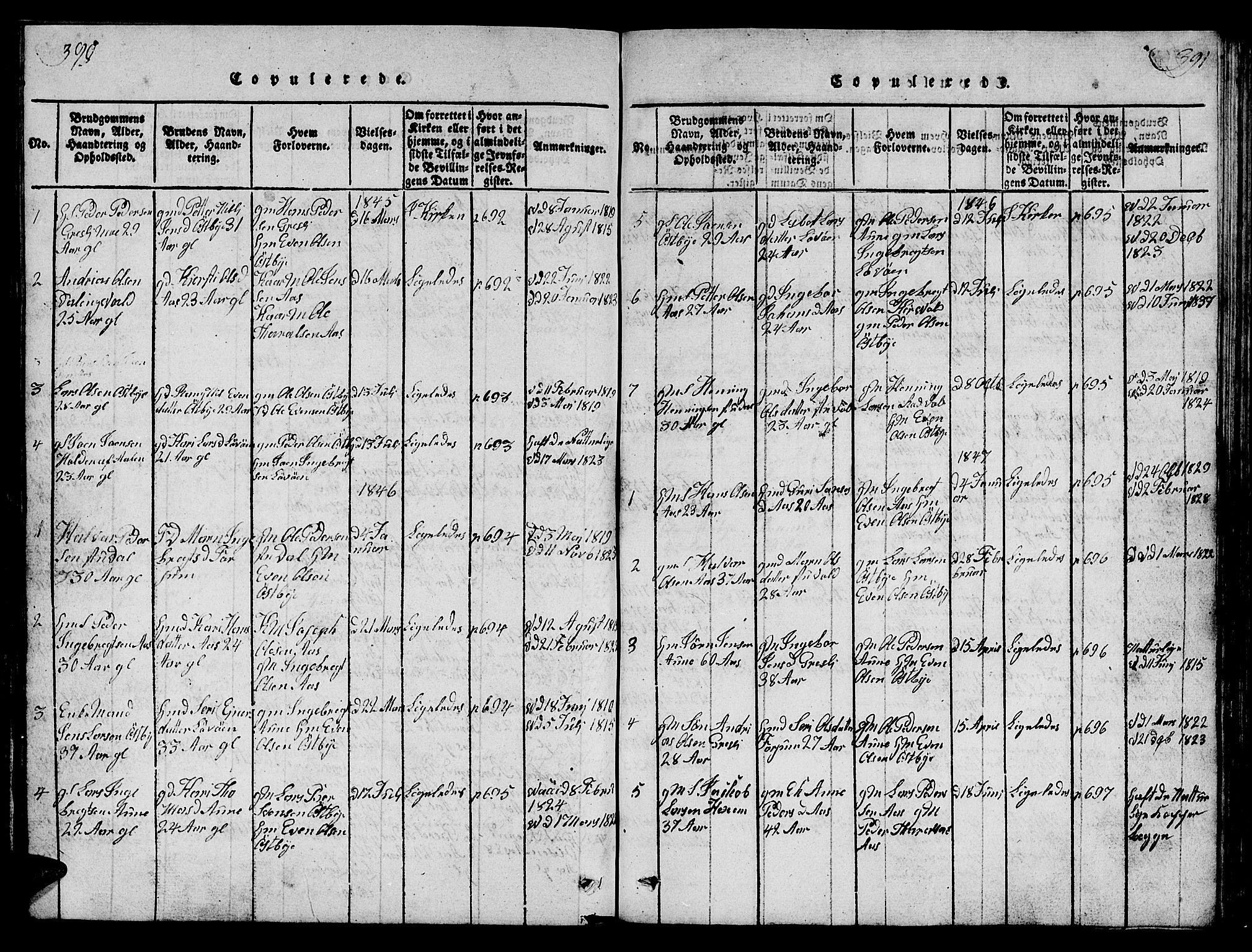 SAT, Ministerialprotokoller, klokkerbøker og fødselsregistre - Sør-Trøndelag, 698/L1164: Klokkerbok nr. 698C01, 1816-1861, s. 390-391