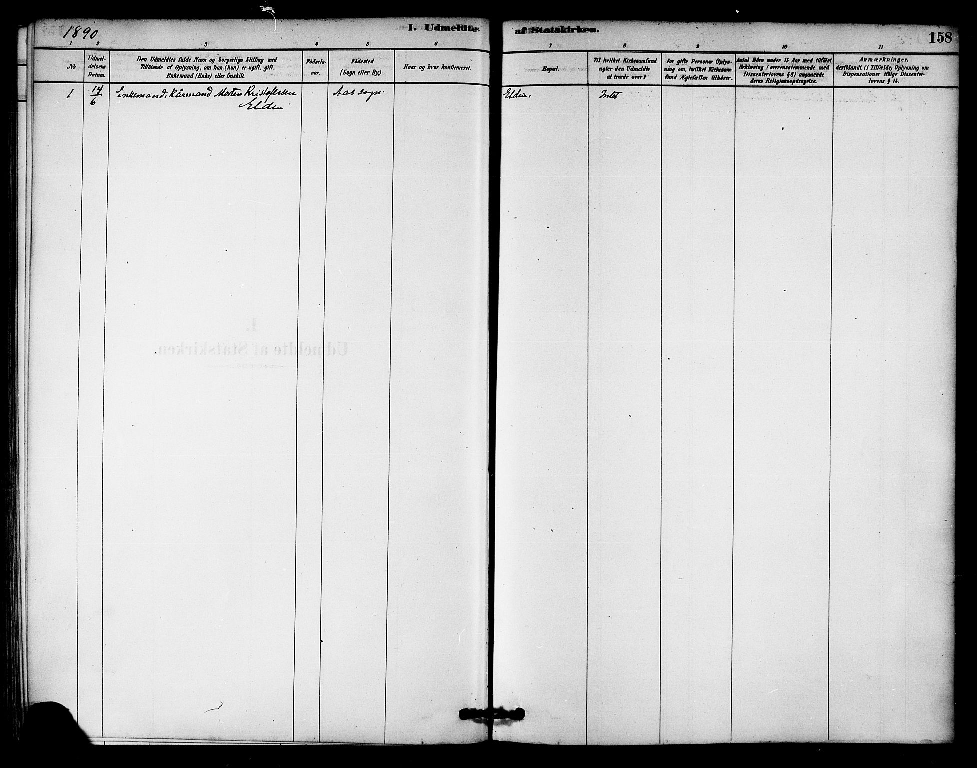 SAT, Ministerialprotokoller, klokkerbøker og fødselsregistre - Nord-Trøndelag, 742/L0408: Ministerialbok nr. 742A01, 1878-1890, s. 158