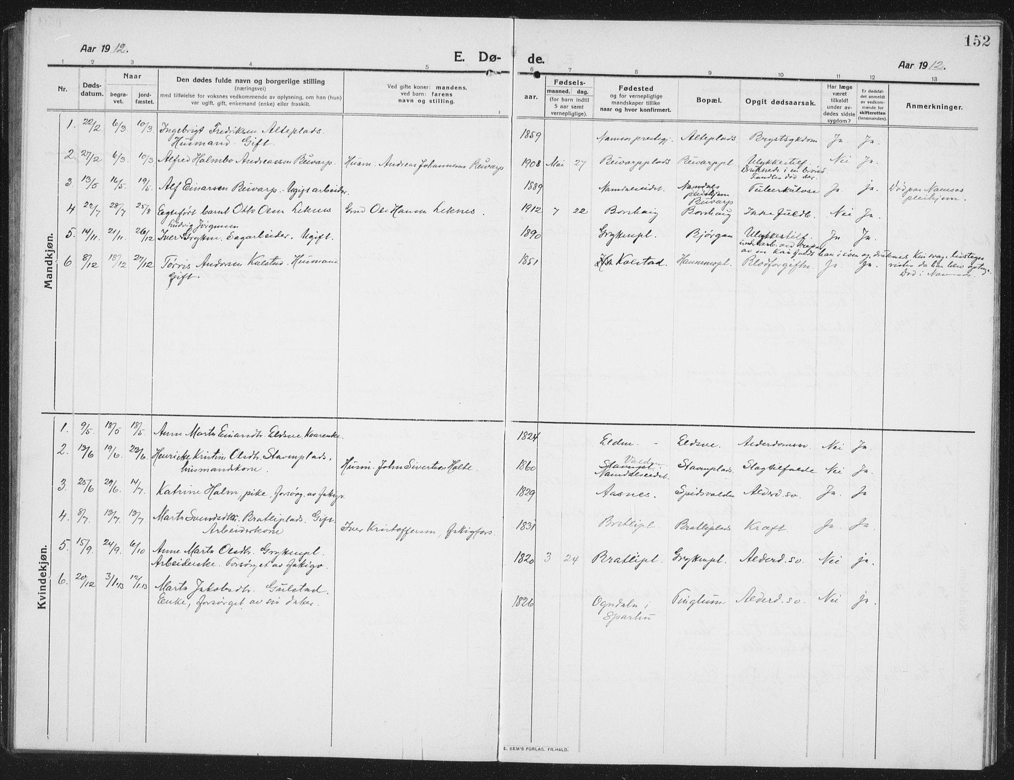 SAT, Ministerialprotokoller, klokkerbøker og fødselsregistre - Nord-Trøndelag, 742/L0413: Klokkerbok nr. 742C04, 1911-1938, s. 152