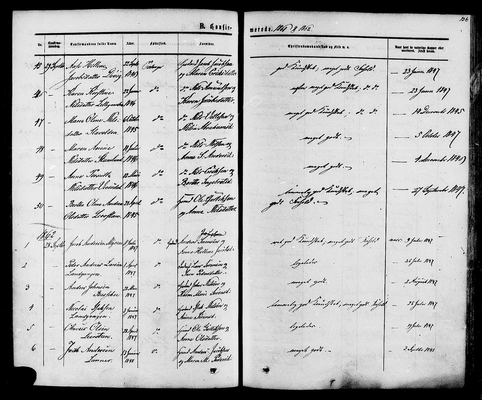 SAKO, Eidanger kirkebøker, F/Fa/L0010: Ministerialbok nr. 10, 1859-1874, s. 136