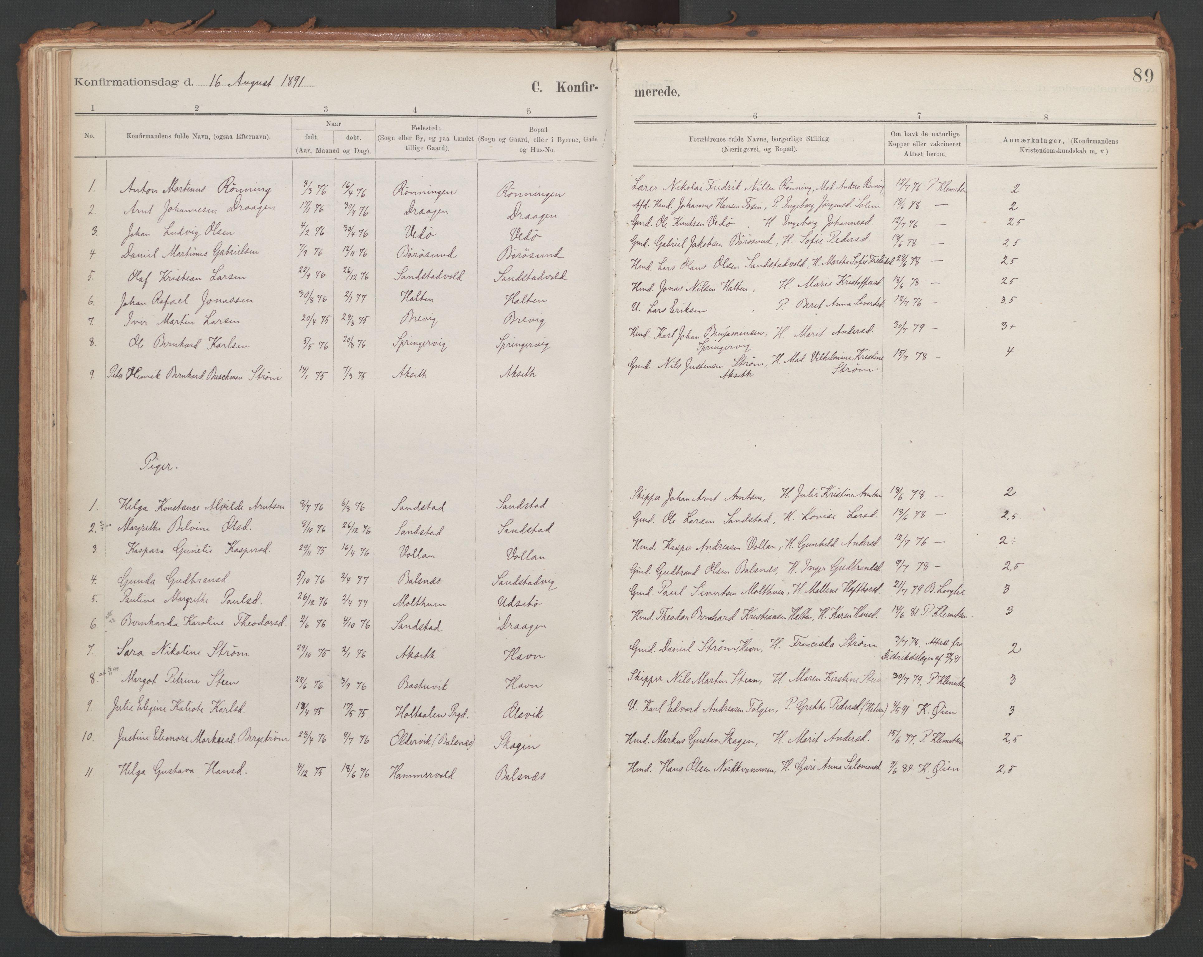 SAT, Ministerialprotokoller, klokkerbøker og fødselsregistre - Sør-Trøndelag, 639/L0572: Ministerialbok nr. 639A01, 1890-1920, s. 89