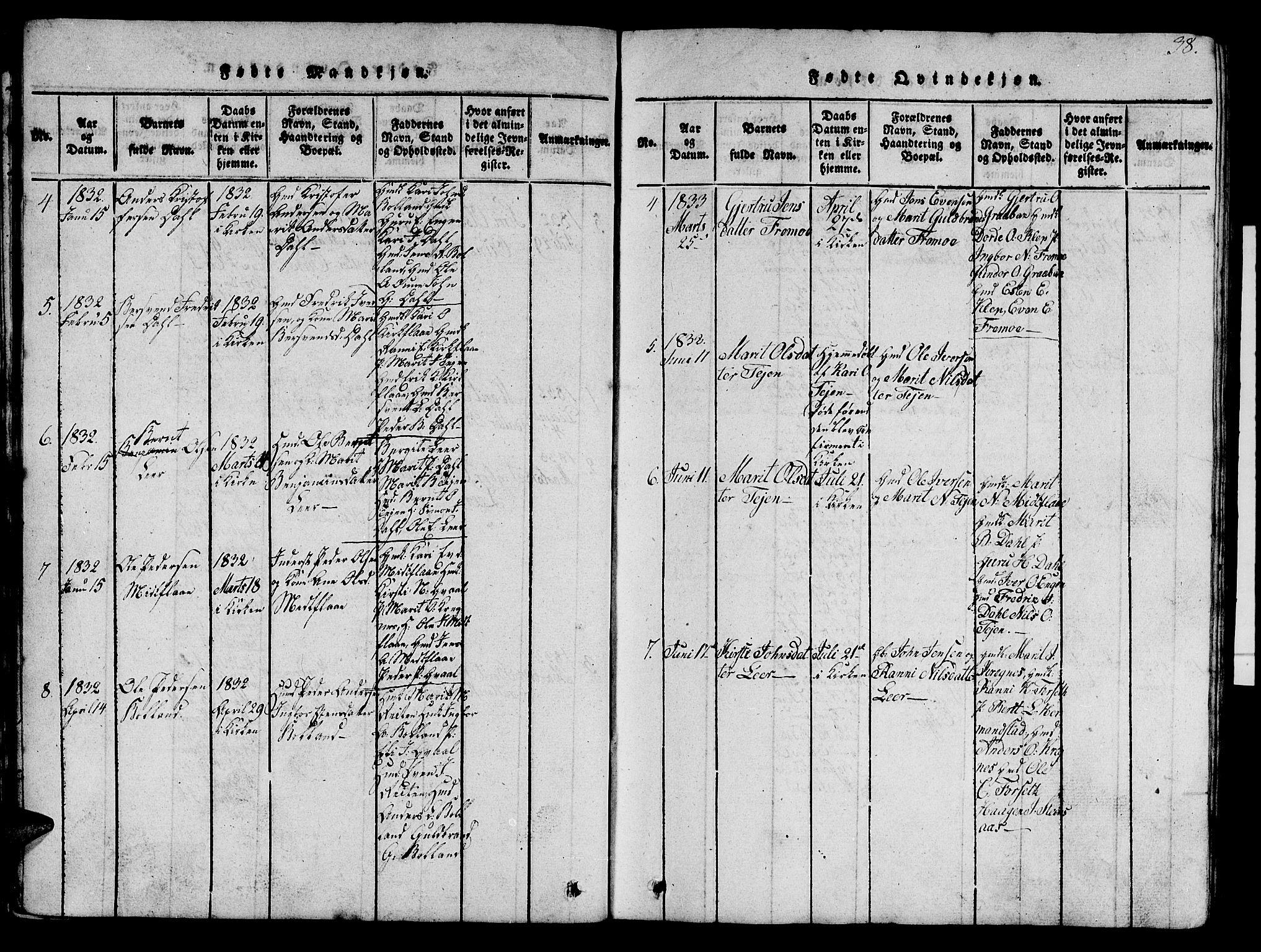 SAT, Ministerialprotokoller, klokkerbøker og fødselsregistre - Sør-Trøndelag, 693/L1121: Klokkerbok nr. 693C02, 1816-1869, s. 38