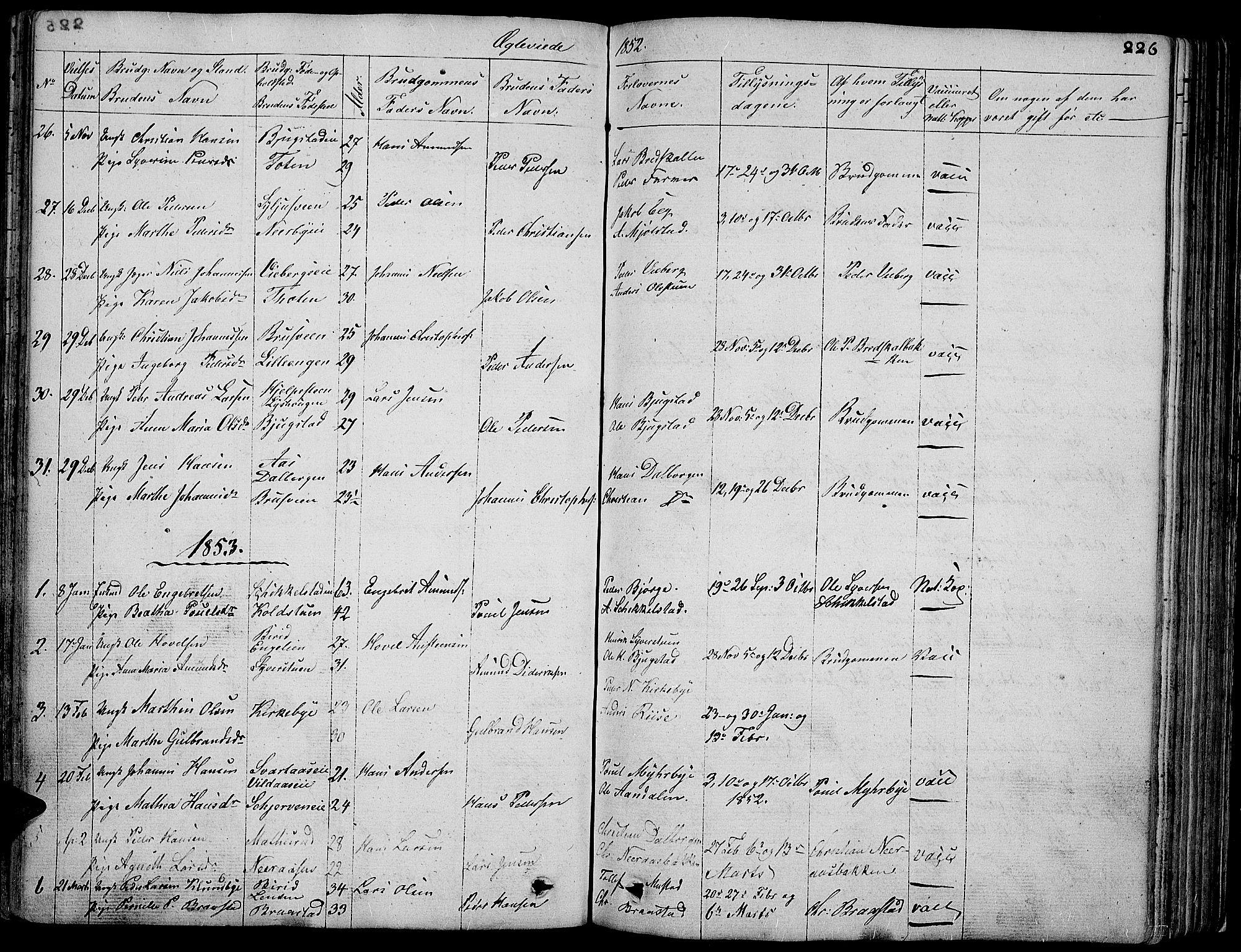 SAH, Vardal prestekontor, H/Ha/Hab/L0004: Klokkerbok nr. 4, 1831-1853, s. 226