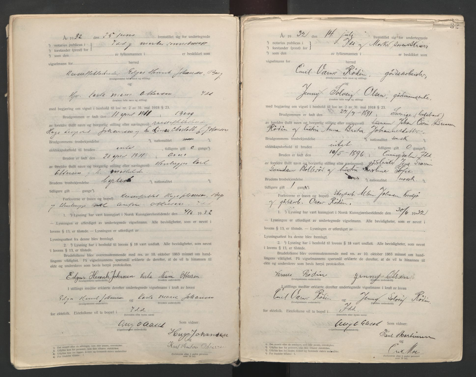 SAO, Idd og Marker sorenskriveri, L/Lc/L0001: Vigselsbøker, 1920-1942, s. 32