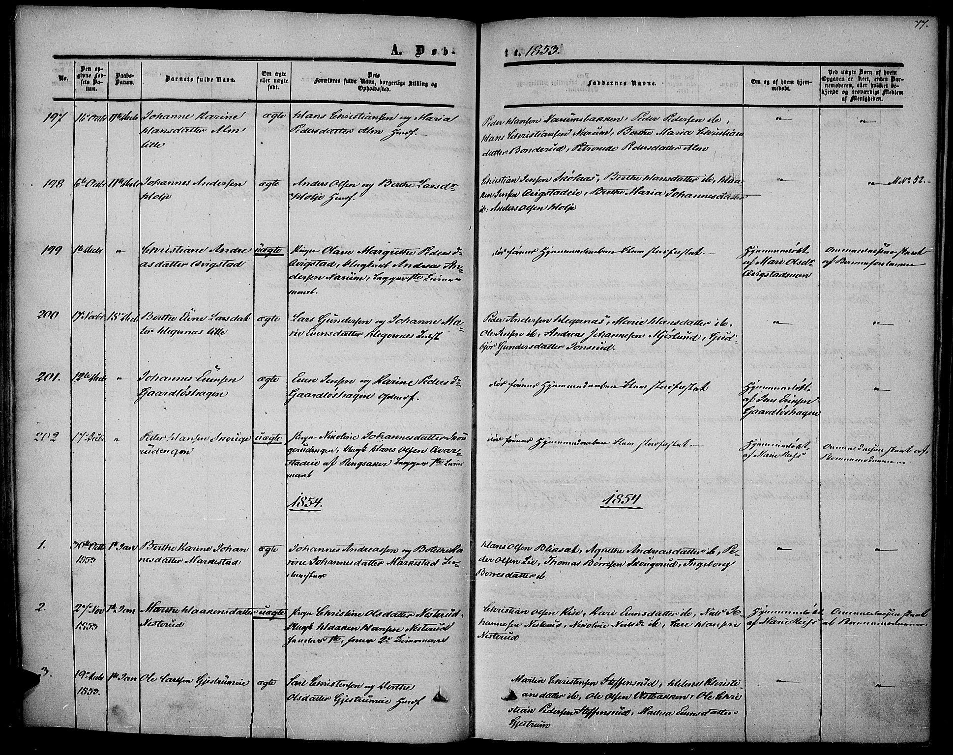 SAH, Vestre Toten prestekontor, Ministerialbok nr. 5, 1850-1855, s. 77