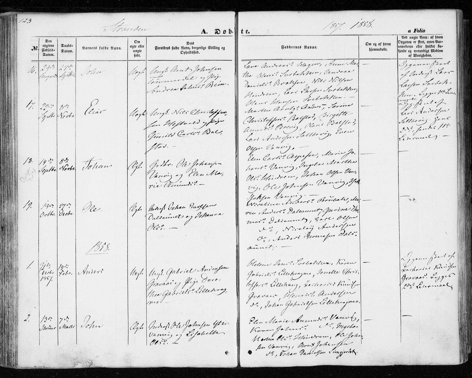 SAT, Ministerialprotokoller, klokkerbøker og fødselsregistre - Nord-Trøndelag, 701/L0008: Ministerialbok nr. 701A08 /2, 1854-1863, s. 123