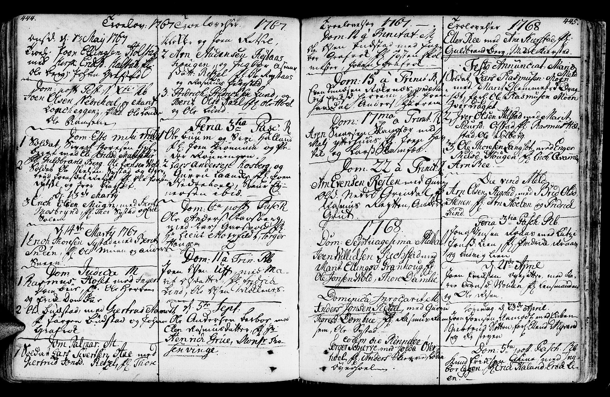 SAT, Ministerialprotokoller, klokkerbøker og fødselsregistre - Sør-Trøndelag, 672/L0851: Ministerialbok nr. 672A04, 1751-1775, s. 444-445