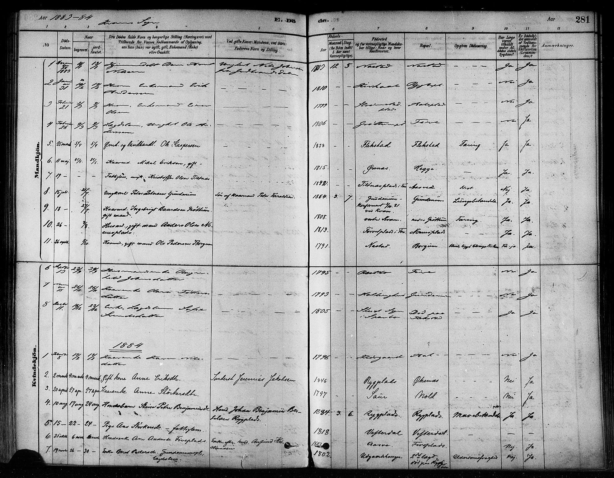 SAT, Ministerialprotokoller, klokkerbøker og fødselsregistre - Nord-Trøndelag, 746/L0449: Ministerialbok nr. 746A07 /2, 1878-1899, s. 281