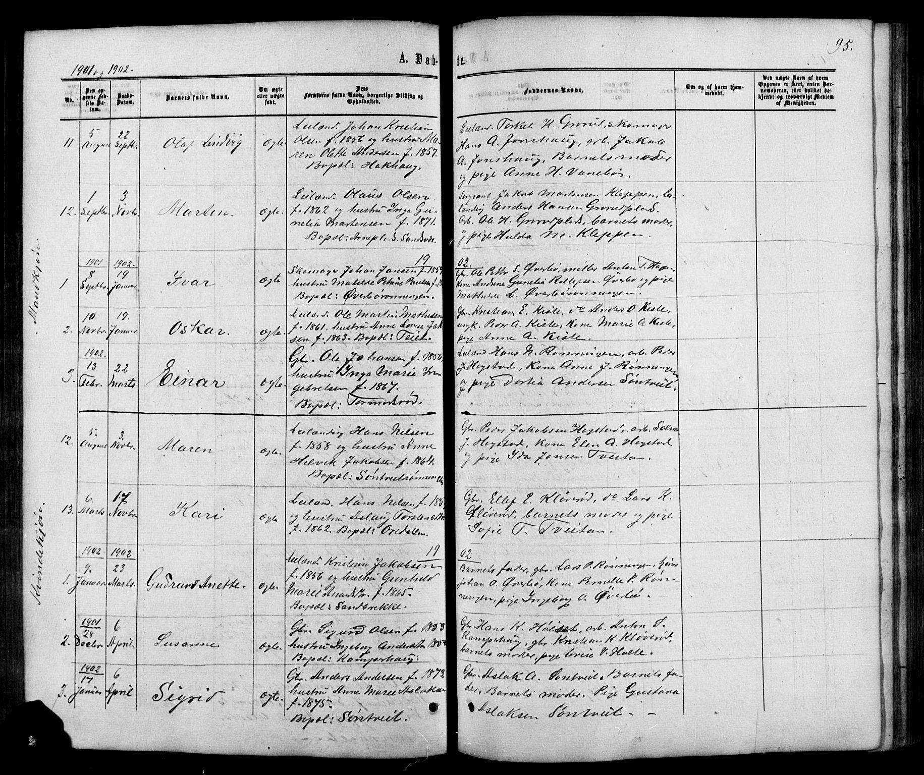 SAKO, Siljan kirkebøker, G/Ga/L0002: Klokkerbok nr. 2, 1864-1908, s. 95