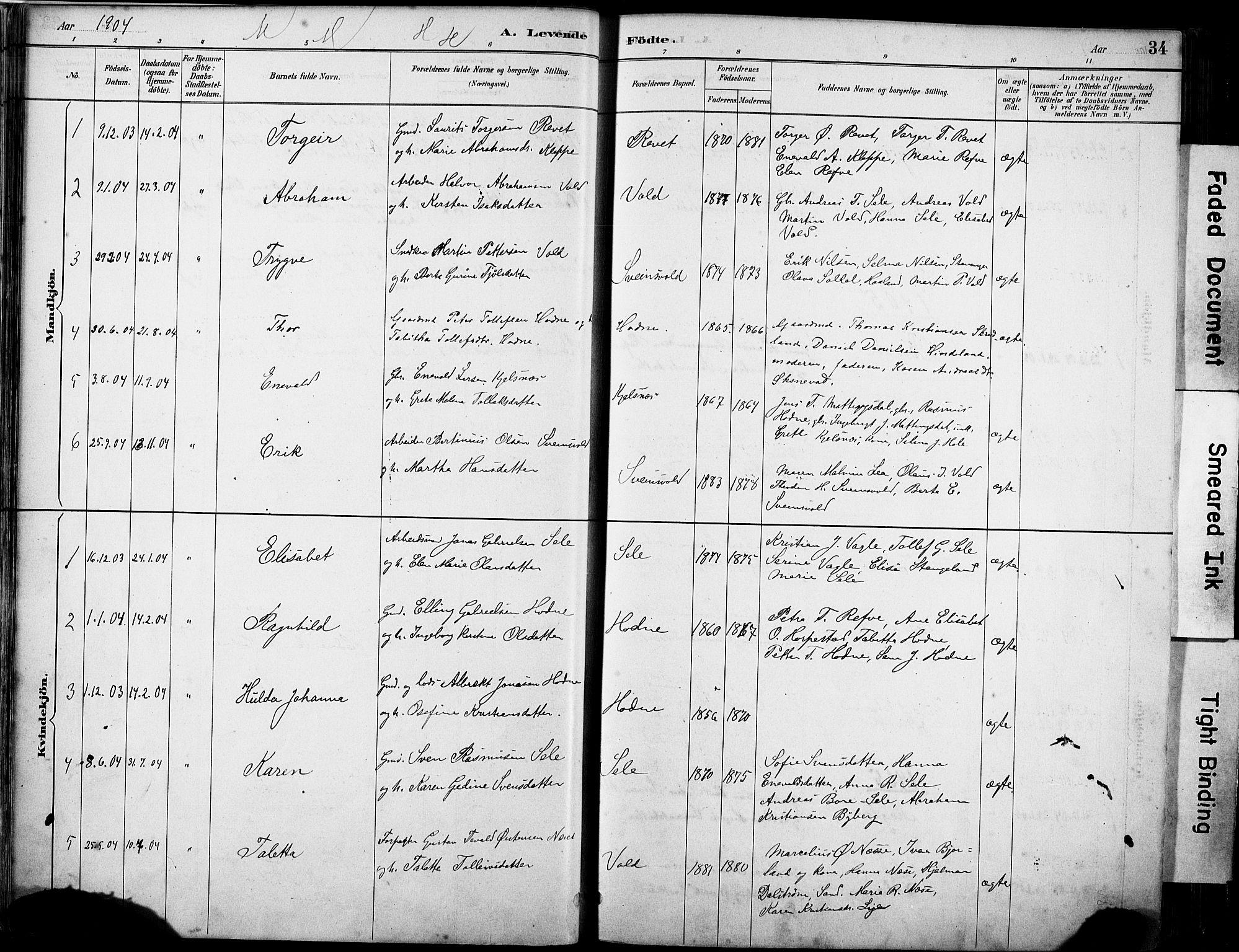 SAST, Klepp sokneprestkontor, 30BA/L0008: Ministerialbok nr. A 9, 1886-1919, s. 34