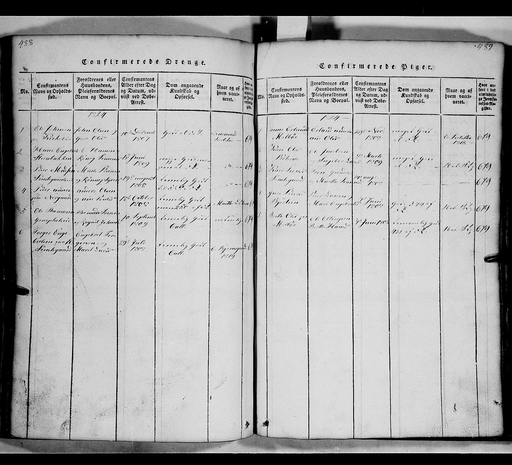 SAH, Gausdal prestekontor, Klokkerbok nr. 2, 1818-1874, s. 488-489
