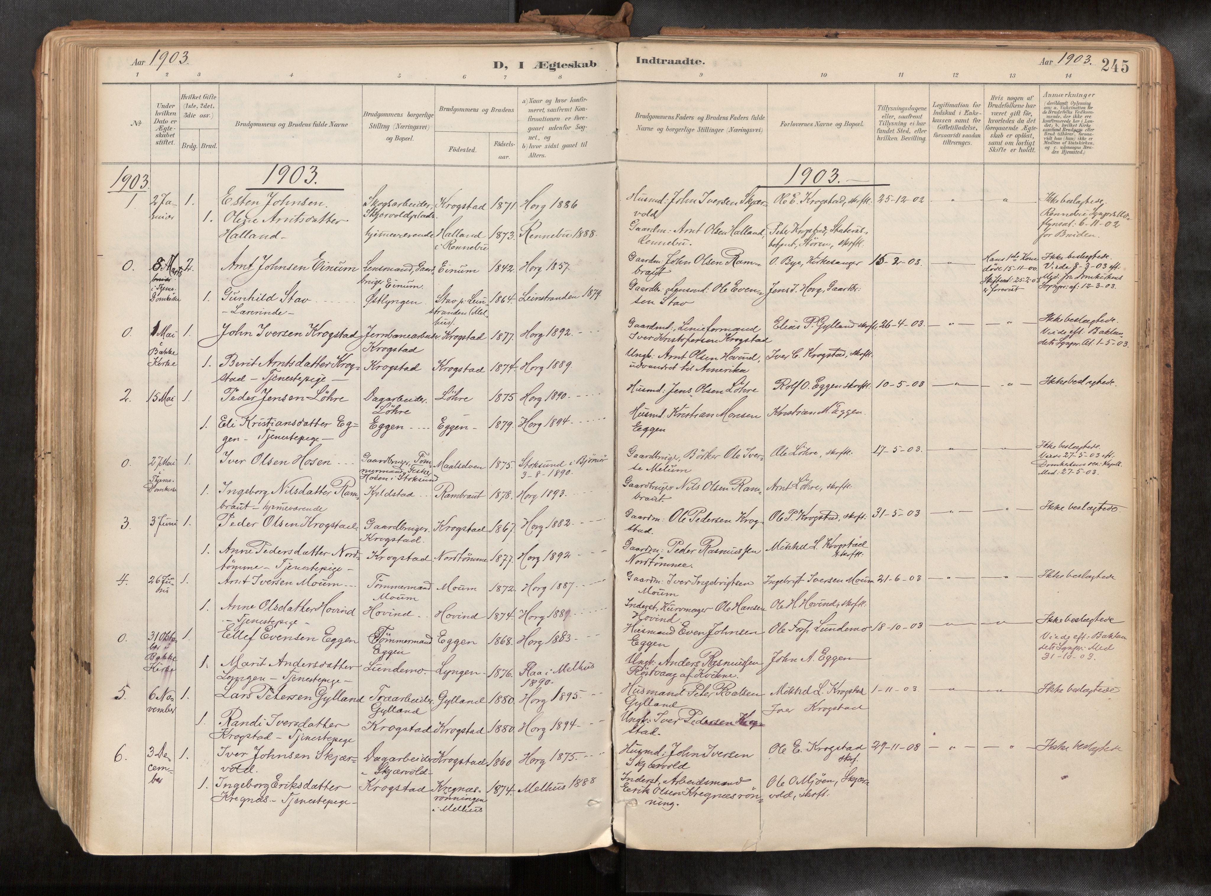 SAT, Ministerialprotokoller, klokkerbøker og fødselsregistre - Sør-Trøndelag, 692/L1105b: Ministerialbok nr. 692A06, 1891-1934, s. 245
