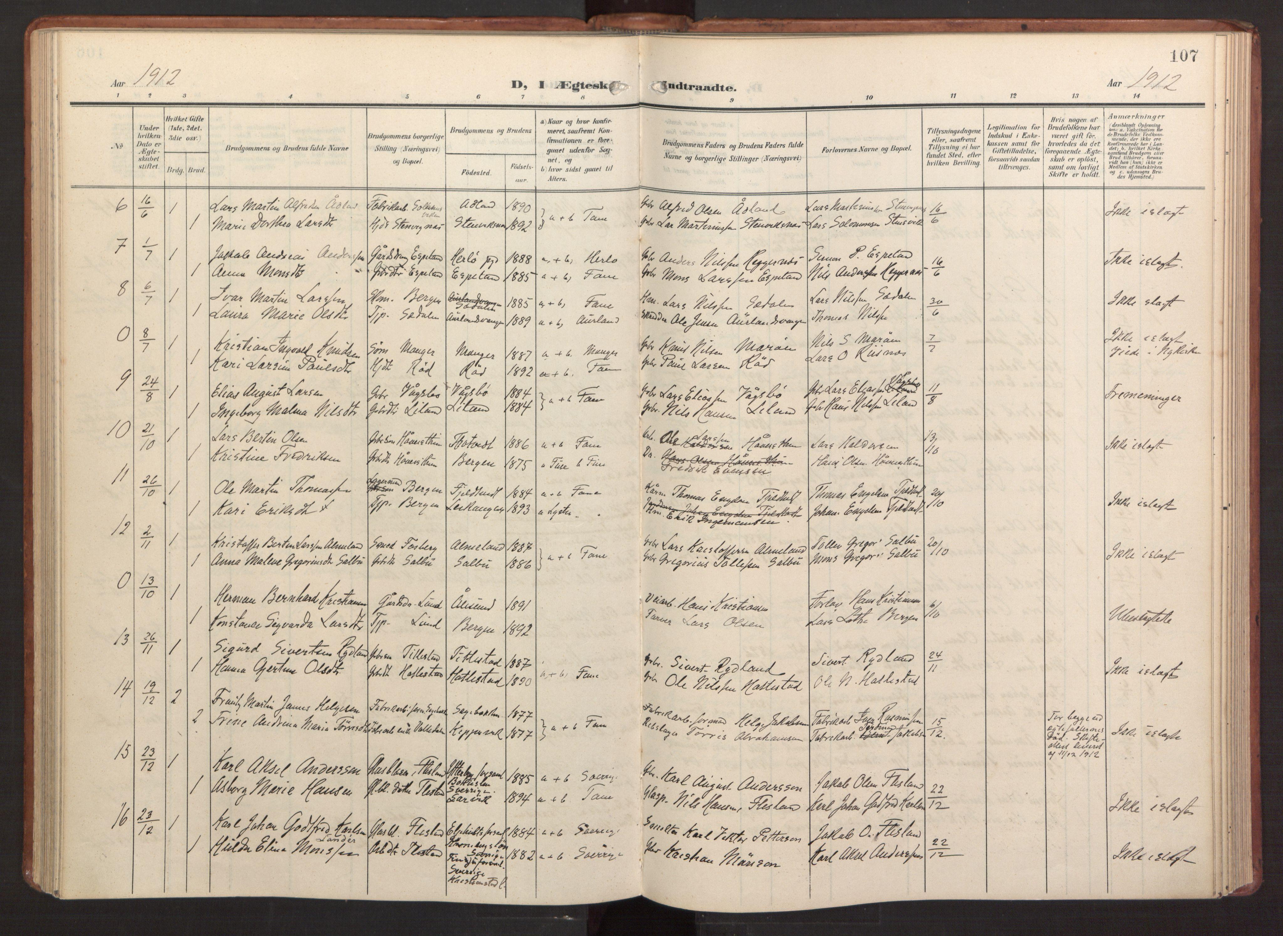 SAB, Fana Sokneprestembete, H/Haa: Ministerialbok nr. B 4, 1908-1915, s. 107
